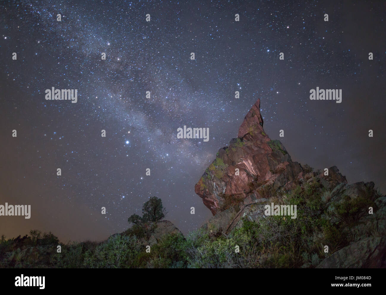 Milky Way Behind Pinnacle Rock - Stock Image