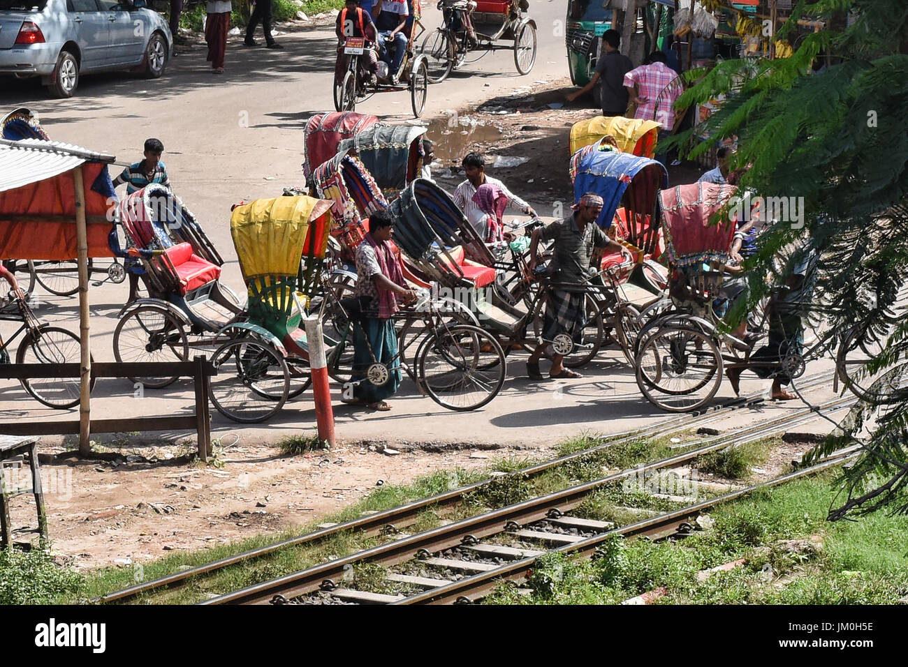 Rickshaw traffic, Dhaka, Bangladesh - Stock Image