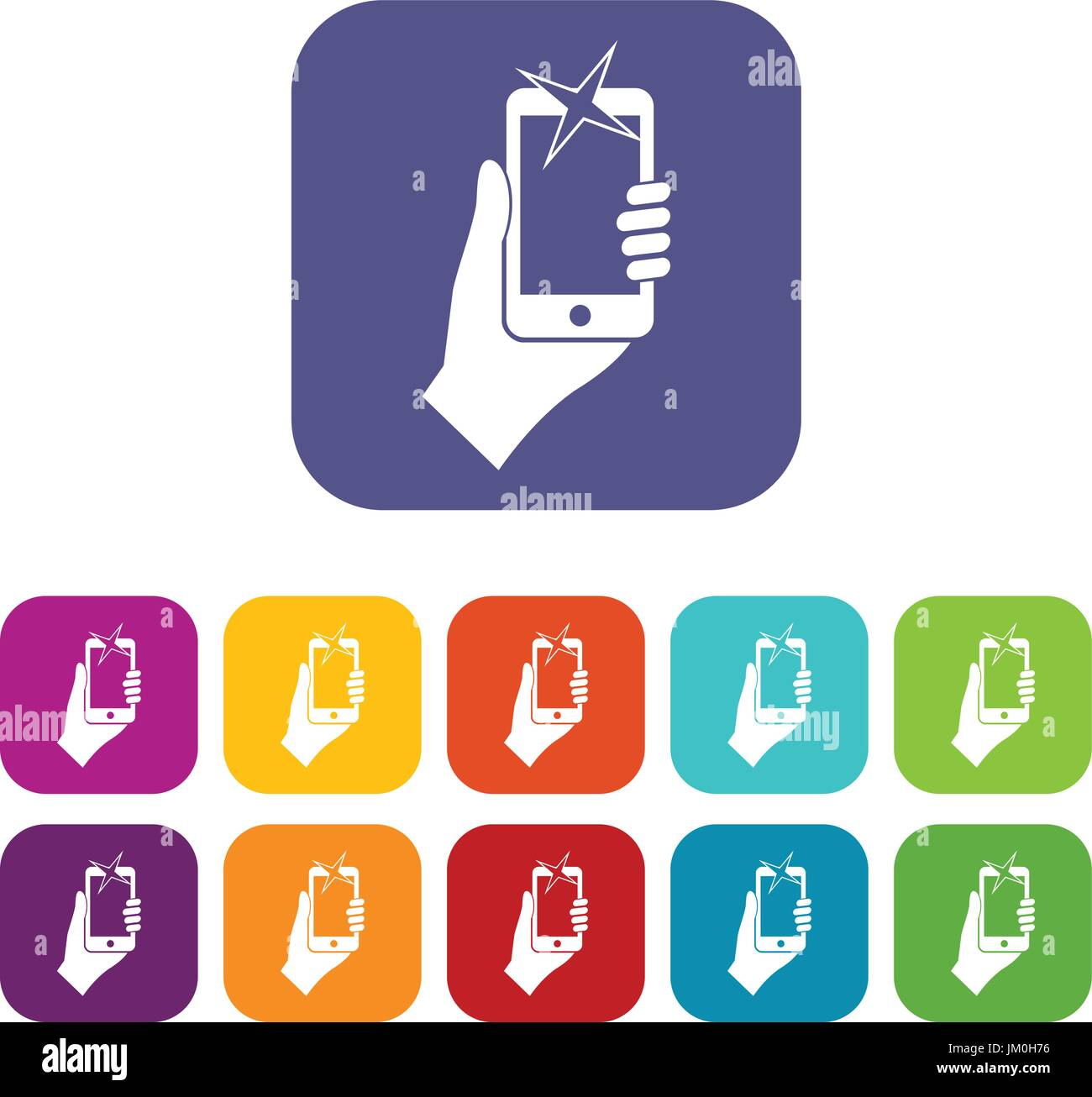 Hand photographed on mobile phone icons set - Stock Vector
