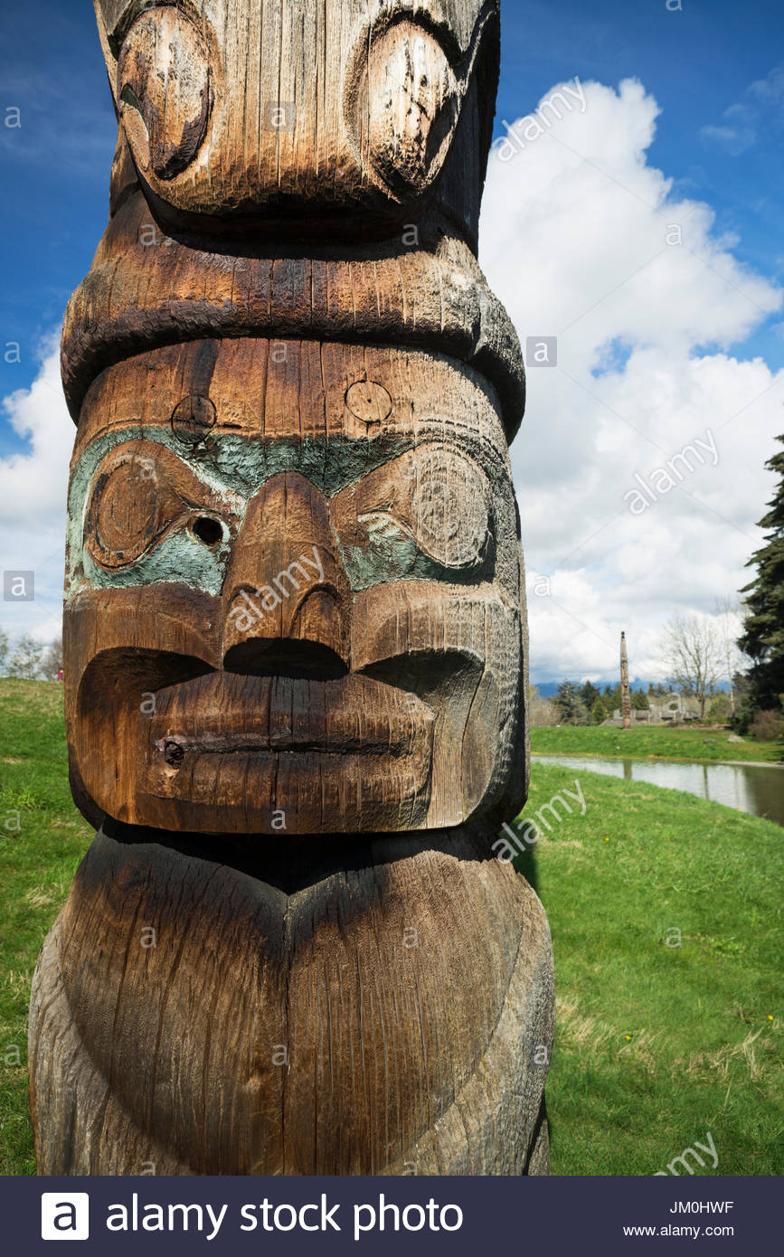 Outdoor Haida Totem Pole at UBC Museum of Anthropology, Vancouver, B.C., Canada - Stock Image