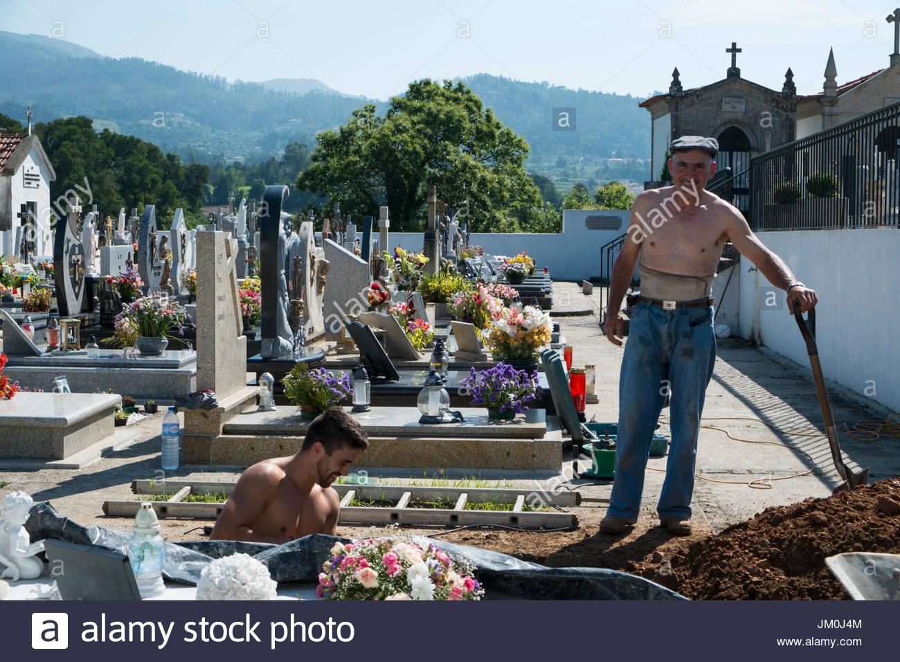 Gravediggers Along the Camino de Santiago, Portugal - Stock Image