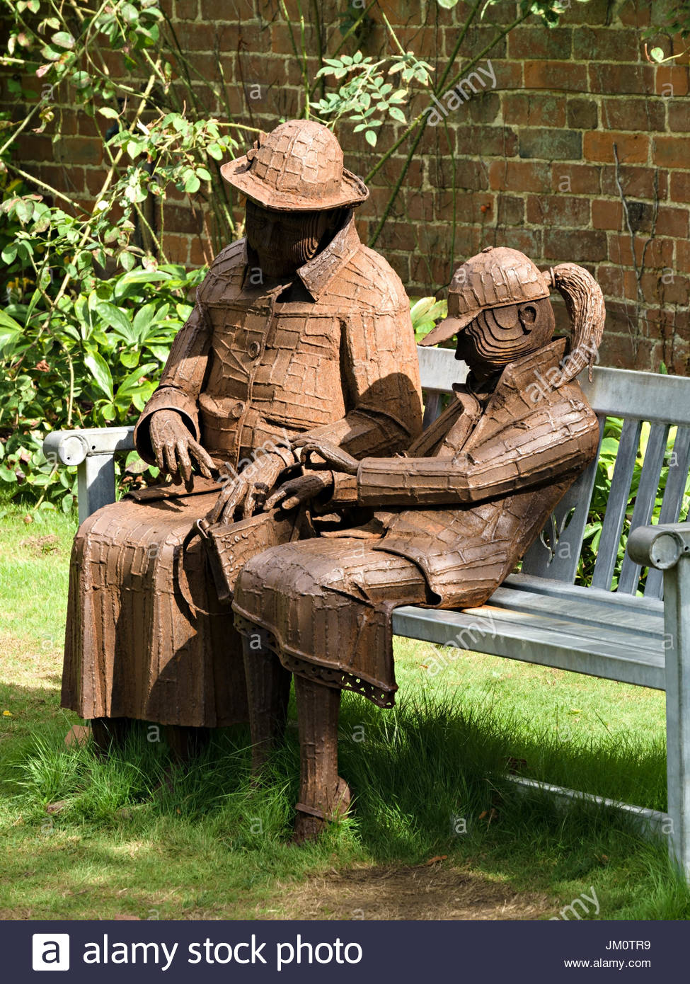 'Relative Treats (Painkillers and Sweets)' steel sculpture, by Ray Lonsdale, Doddington Hall Sculpture Exhibition - Stock Image