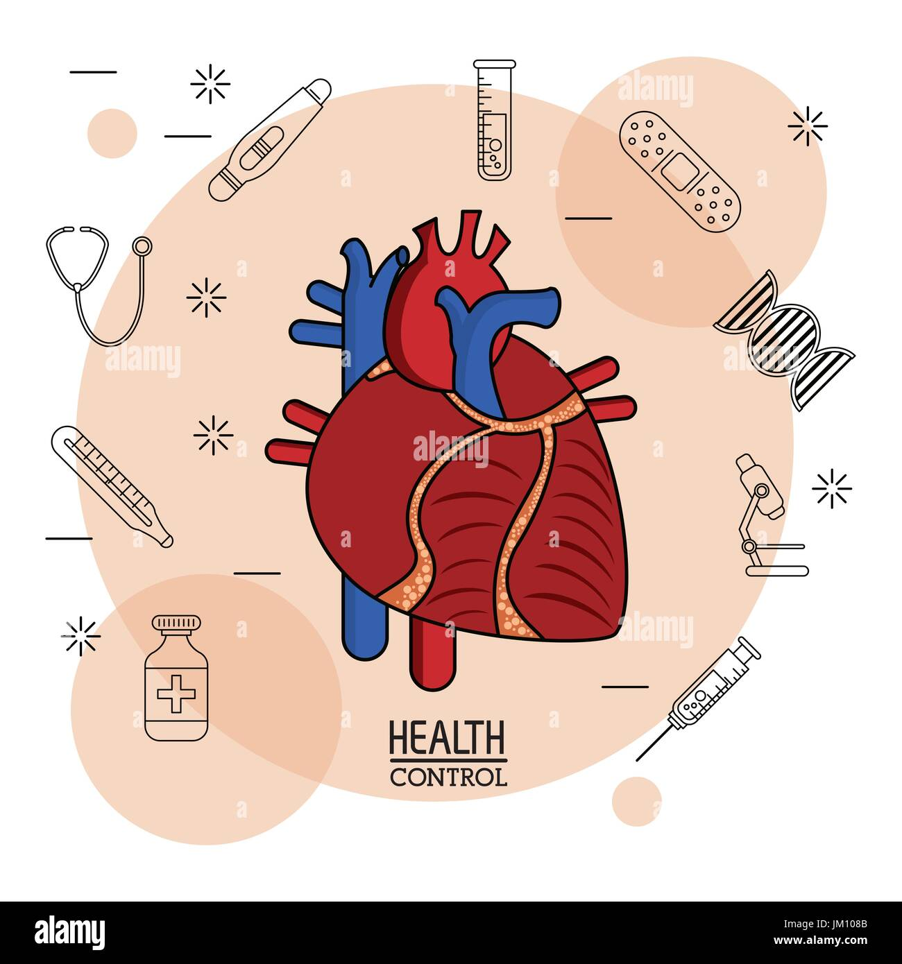 Poster white background with black silhouette icons of health control in background and colorful cardiovascular - Stock Image