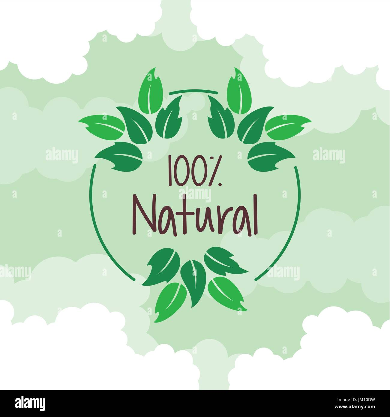 color background with circular logo of one hundred percent natural - Stock Vector
