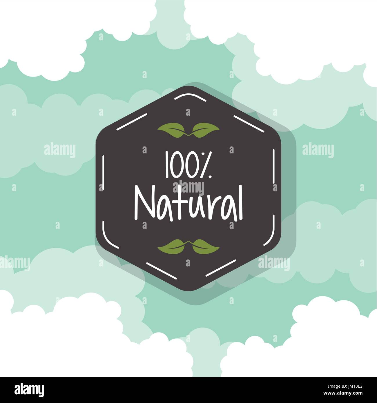 color background with black hexagon logo of one hundred percent natural - Stock Vector