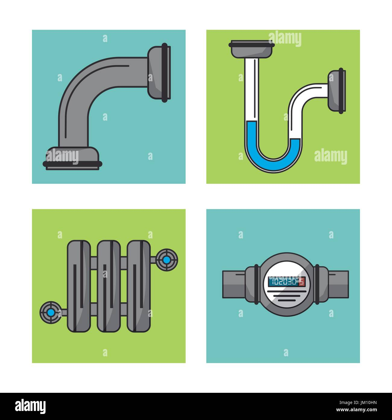 white background with frames of water pipeline and water meter - Stock Image