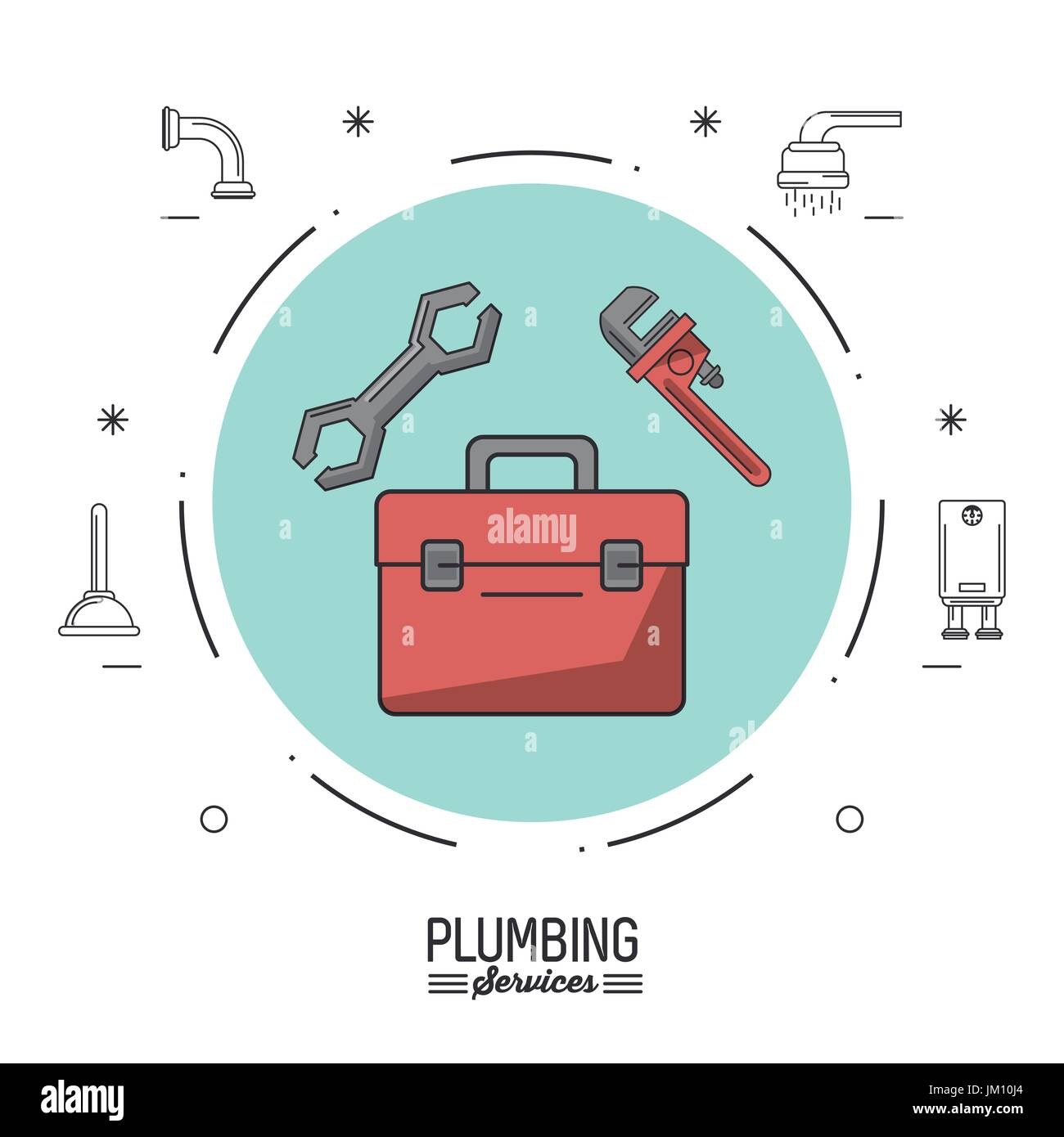 white background poster plumbing services with color circle with ...
