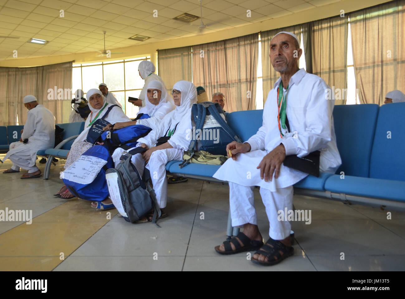 First batch of Kashmiri Hajj pilgrims left for Mecca from Srinagar, Indian Administered Kashmir (Photo by Muzamil Mattoo / Pacific Press) - Stock Image