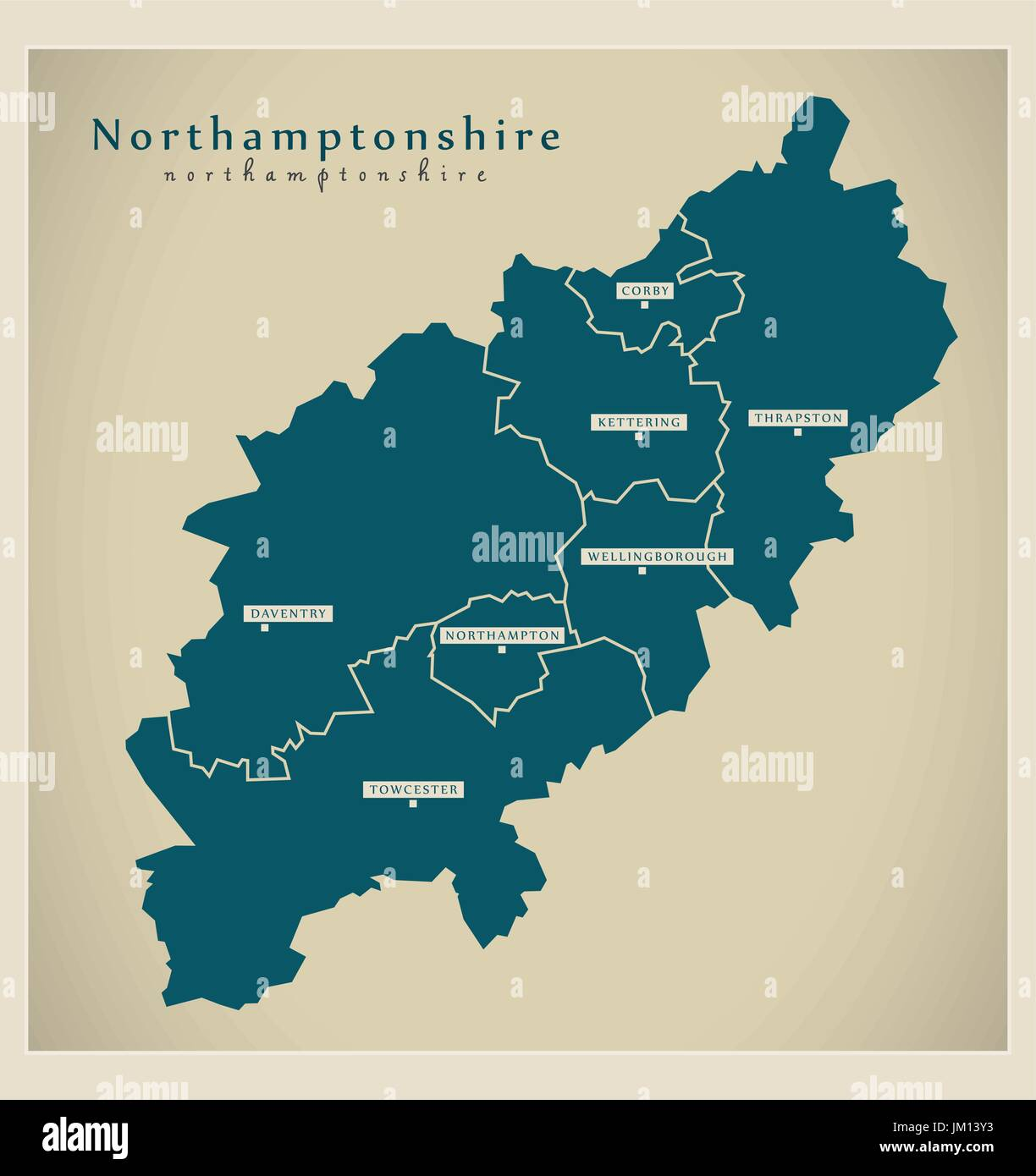 Map Of England Counties And Cities.Modern Map Northamptonshire County With Cities And Districts Stock