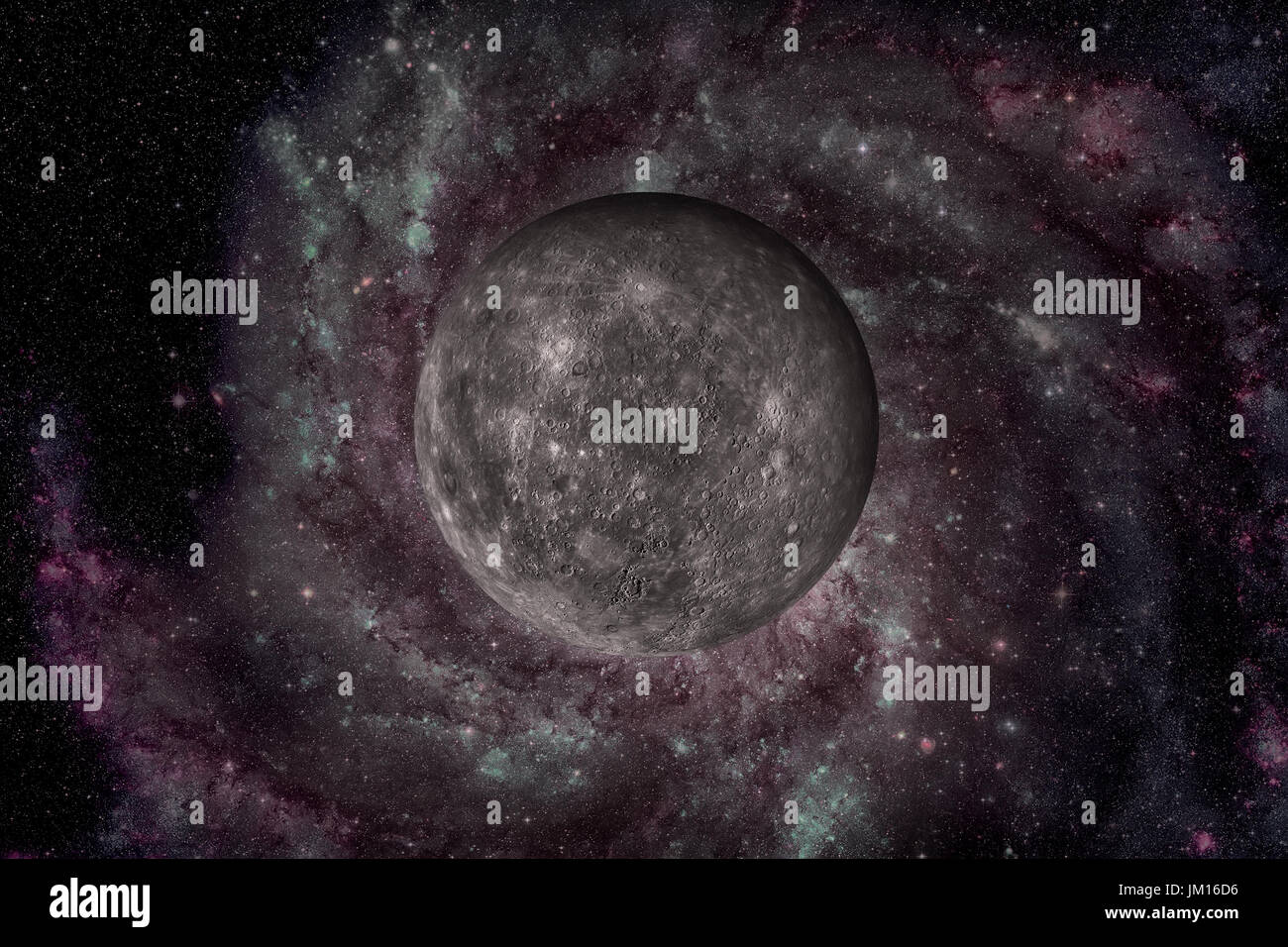 Solar System - Mercury. It is the smallest and closest to the Sun of the eight planets in the Solar System, with an orbital period of about 88 Earth d - Stock Image