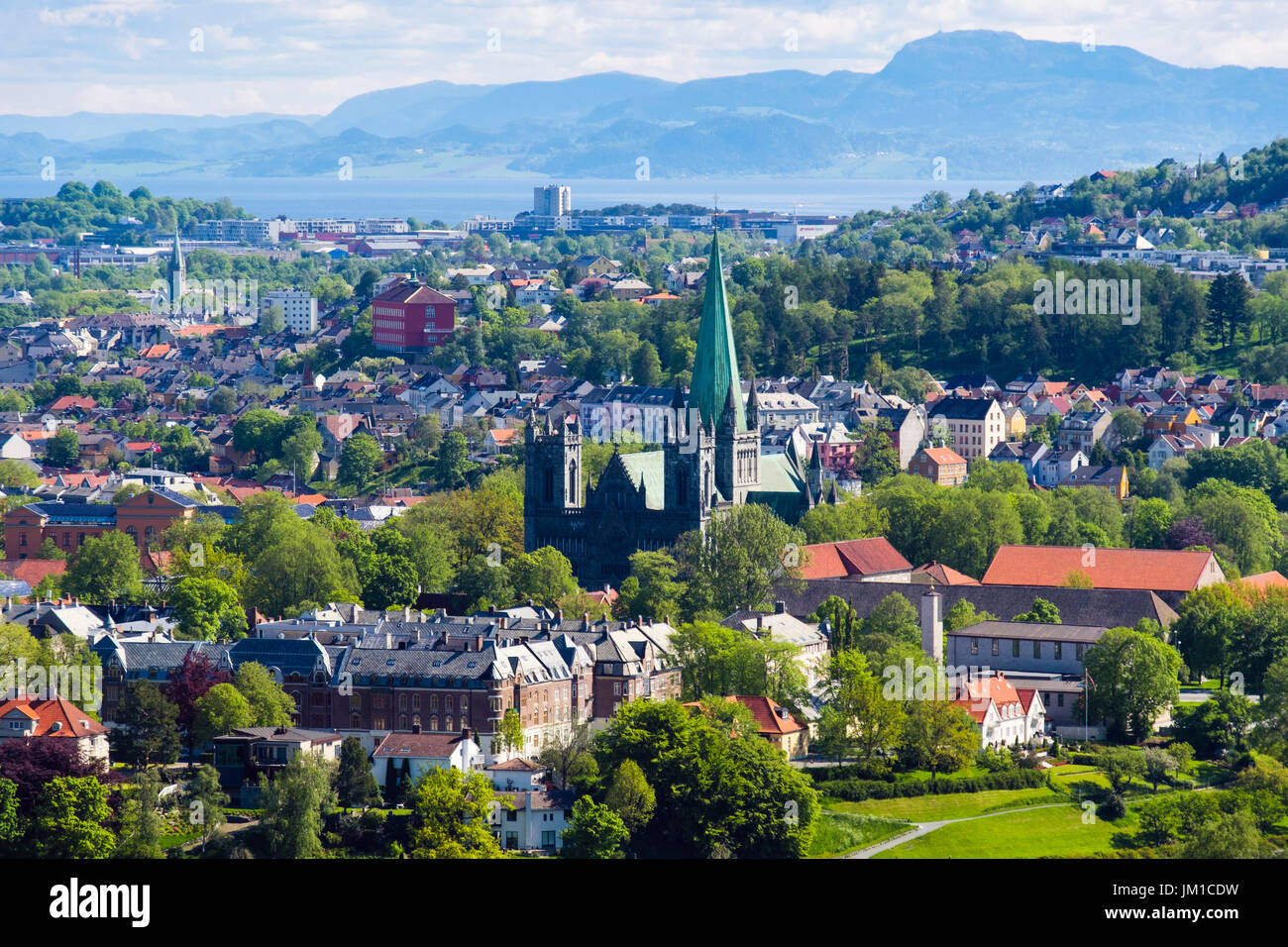 View overlooking the old town with Nidaros Cathedral in summer. Trondheim, Sør-Trøndelag, Norway, Scandinavia - Stock Image