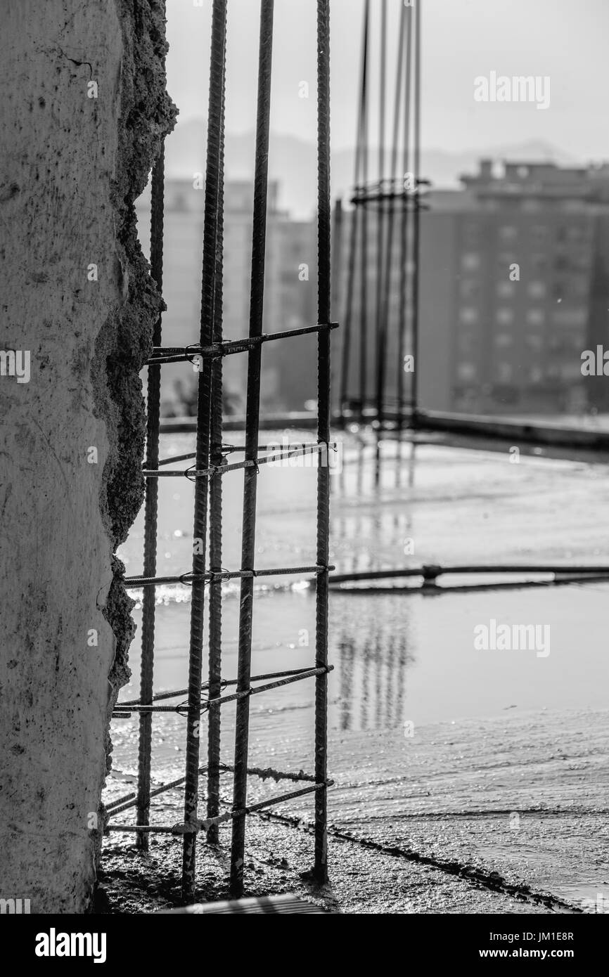 Construction site - iron for the pillars - Stock Image