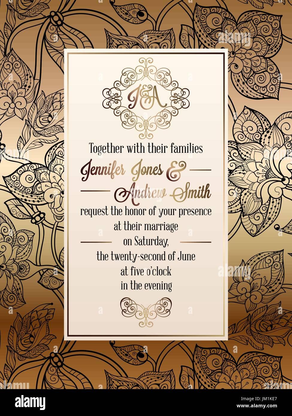 Vintage baroque style wedding invitation card template elegant vintage baroque style wedding invitation card template elegant formal design with damask background traditional decoration for wedding gold and b stopboris Choice Image