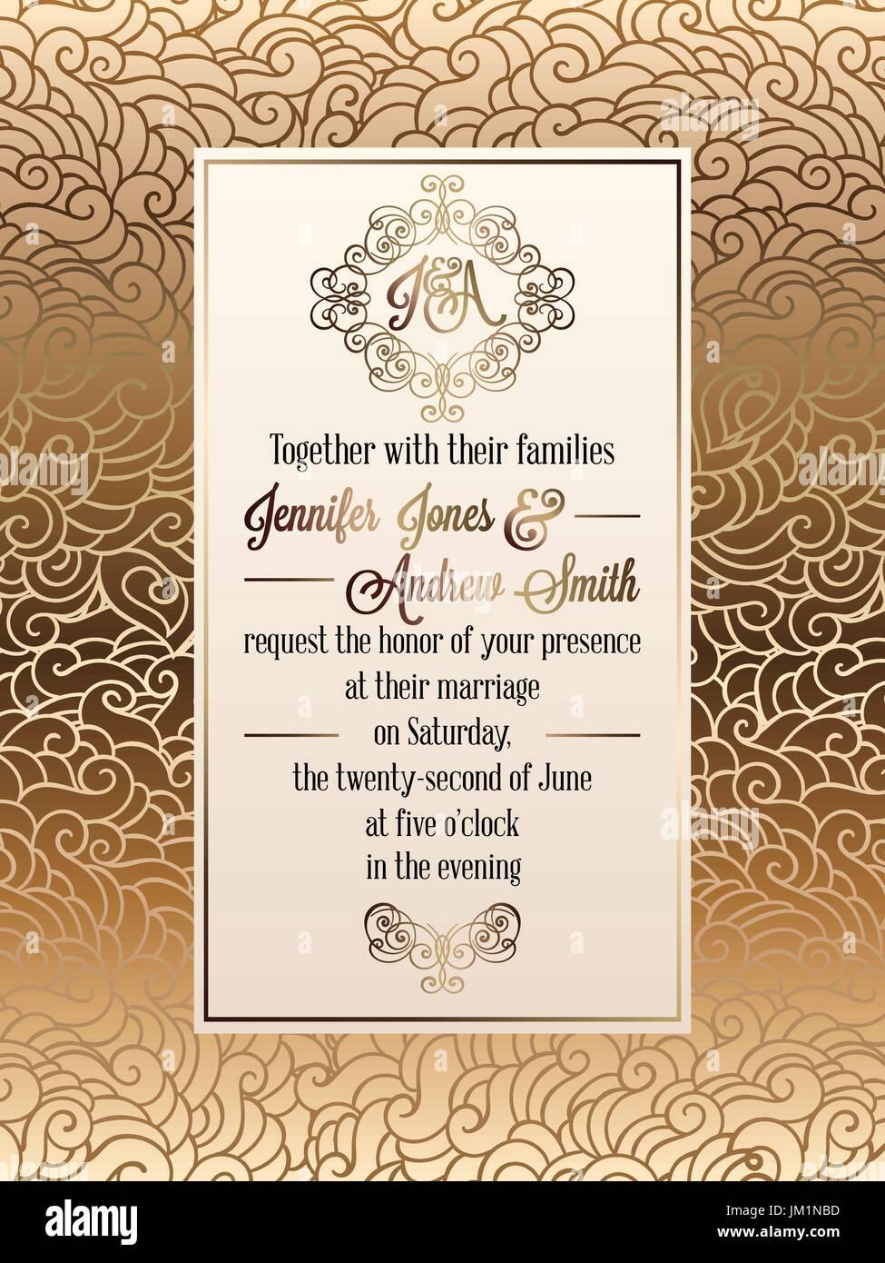 Vintage Baroque Style Wedding Invitation Card Template