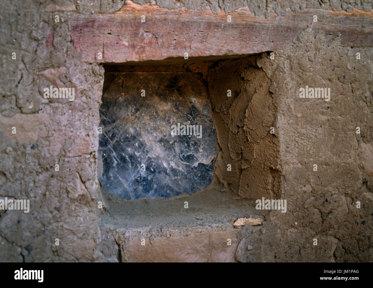 Acoma Pueblo, Grants, New Mexico, USA; traditional and last remaining window pane made from mica. - Stock Image