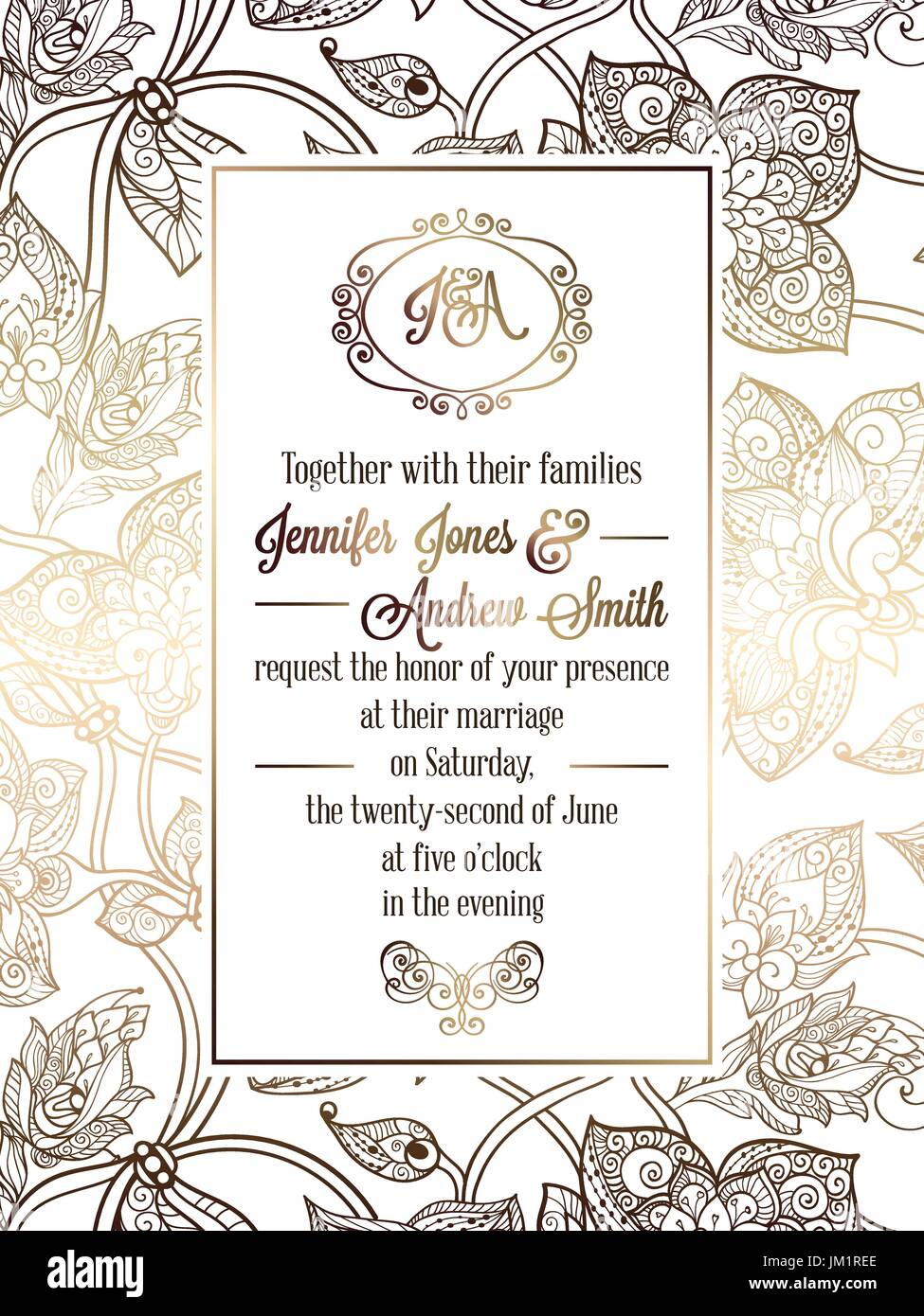 Vintage baroque style wedding invitation card template elegant vintage baroque style wedding invitation card template elegant formal design with damask background traditional decoration for wedding gold on whi junglespirit Image collections