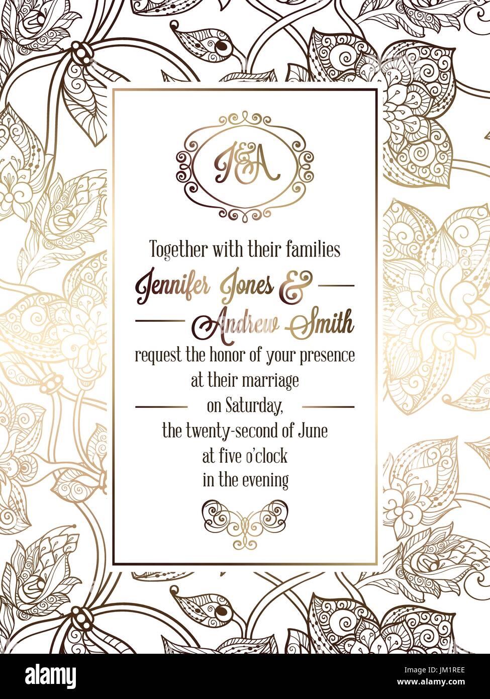 Vintage baroque style wedding invitation card template elegant vintage baroque style wedding invitation card template elegant formal design with damask background traditional decoration for wedding gold on whi stopboris Choice Image