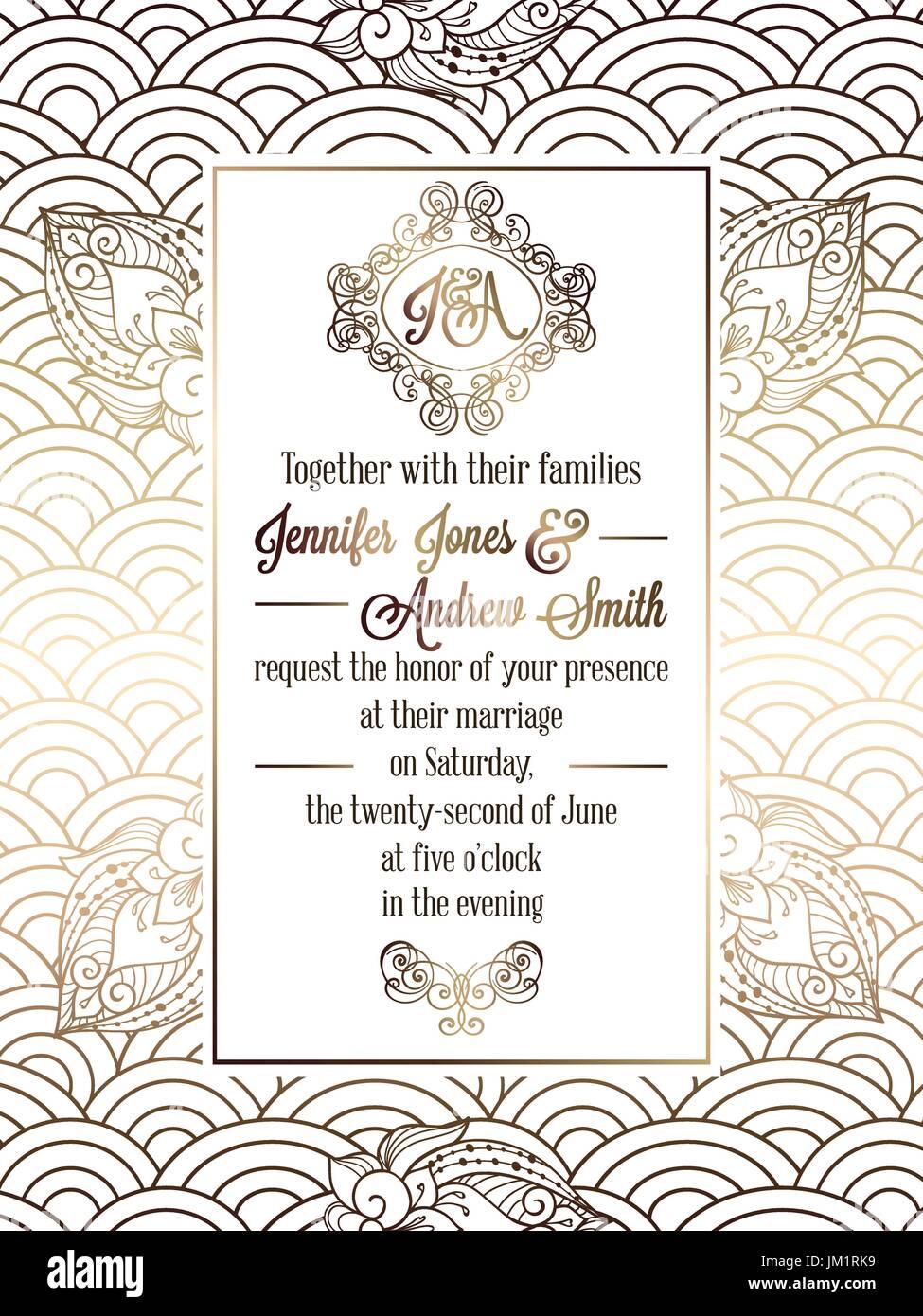 Vintage baroque style wedding invitation card template.. Elegant Stock  Vector Image & Art - Alamy