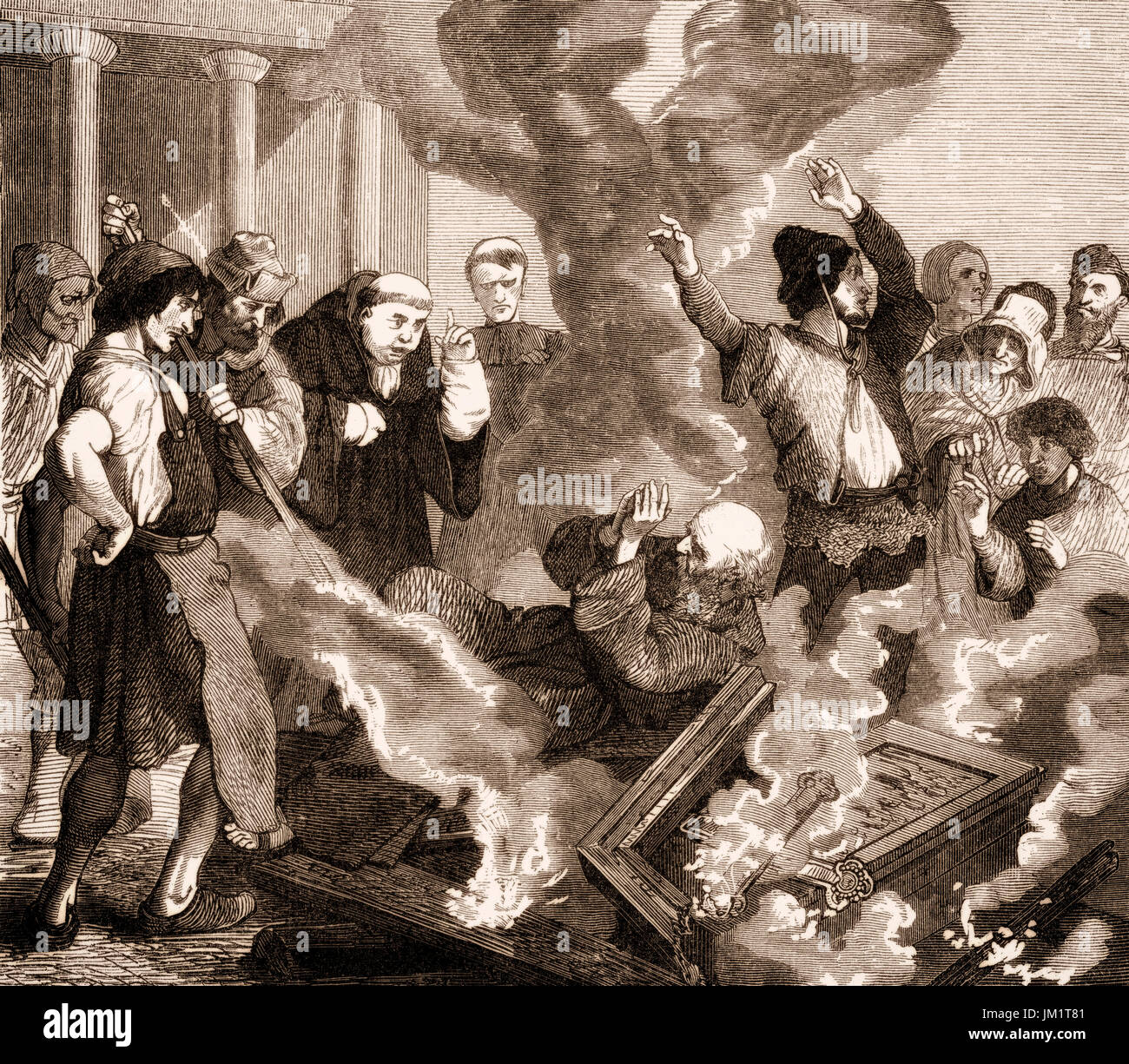 Peter of Bruys, Pierre De Bruys or Peter de Bruis;  1117 – c.1131, a popular French religious teacher, burning in his own bonfire - Stock Image