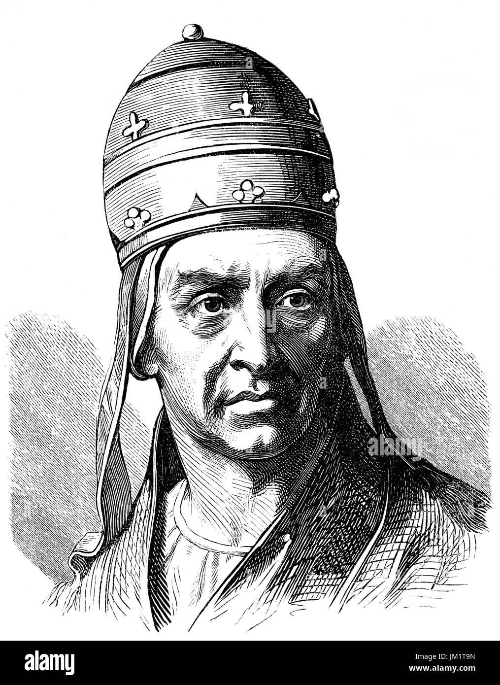 Pope Adrian IV, born Nicholas Breakspear; c. 1100 – 1 September 1159, was Pope from 4 December 1154 to his death - Stock Image