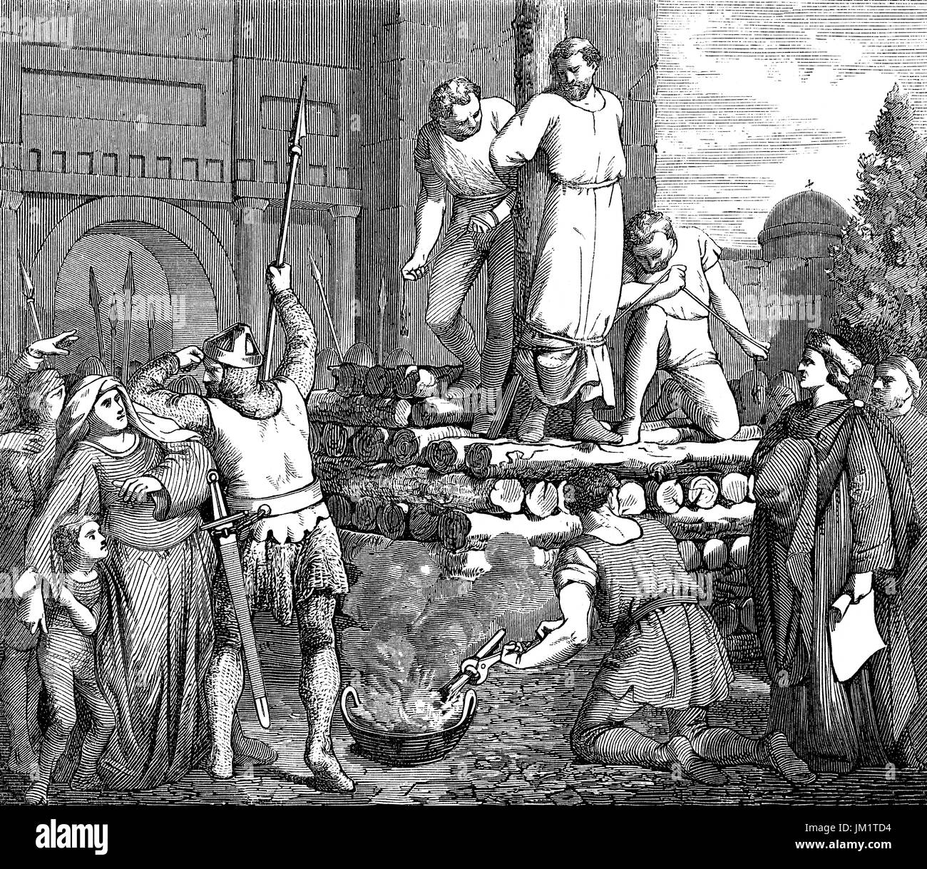 Arnold of Brescia burned at the stake at the hands of the Papal guards, June 1155 - Stock Image