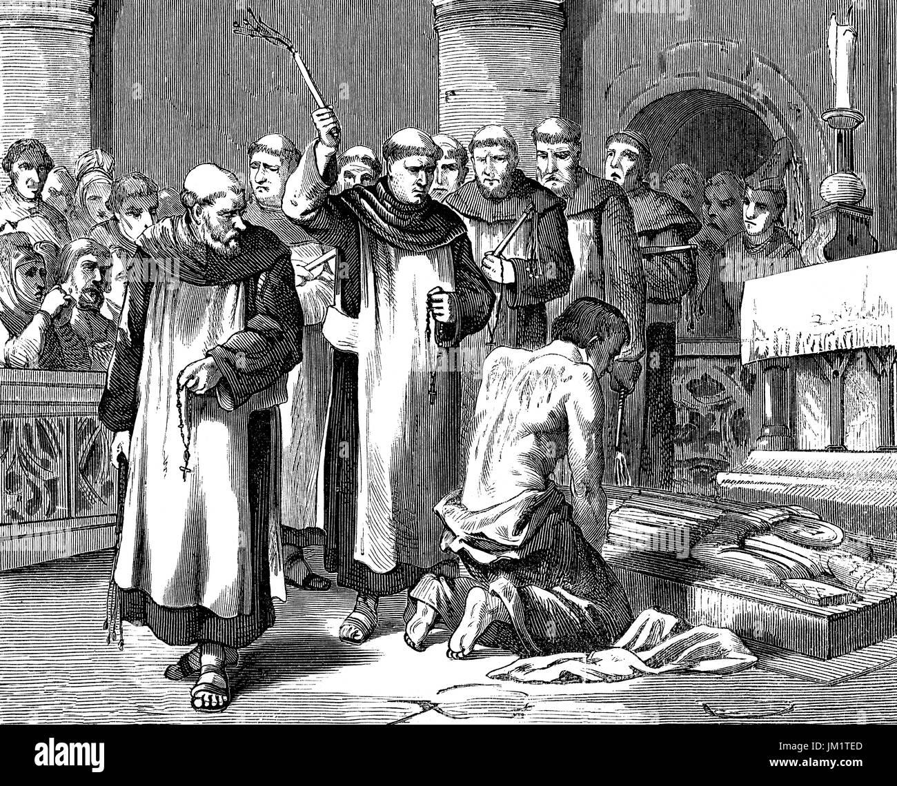 Flagellation of Henry II, or Henry Plantagenet, 1133 - 1189, King of England - Stock Image