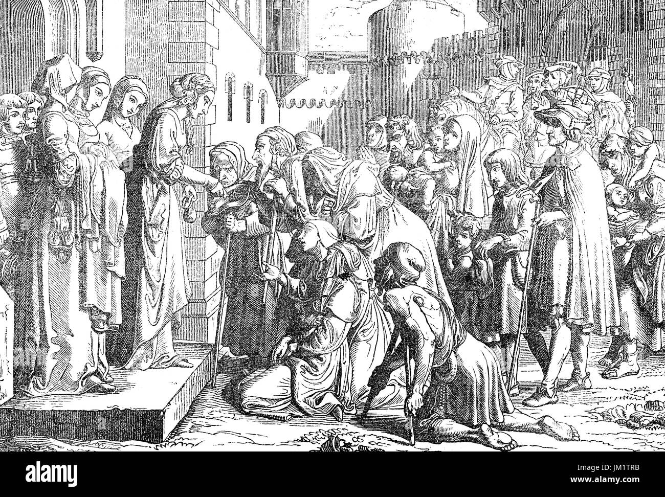 St Elizabeth or Elizabeth of Hungary; 1207 - 1231, helping the poor - Stock Image