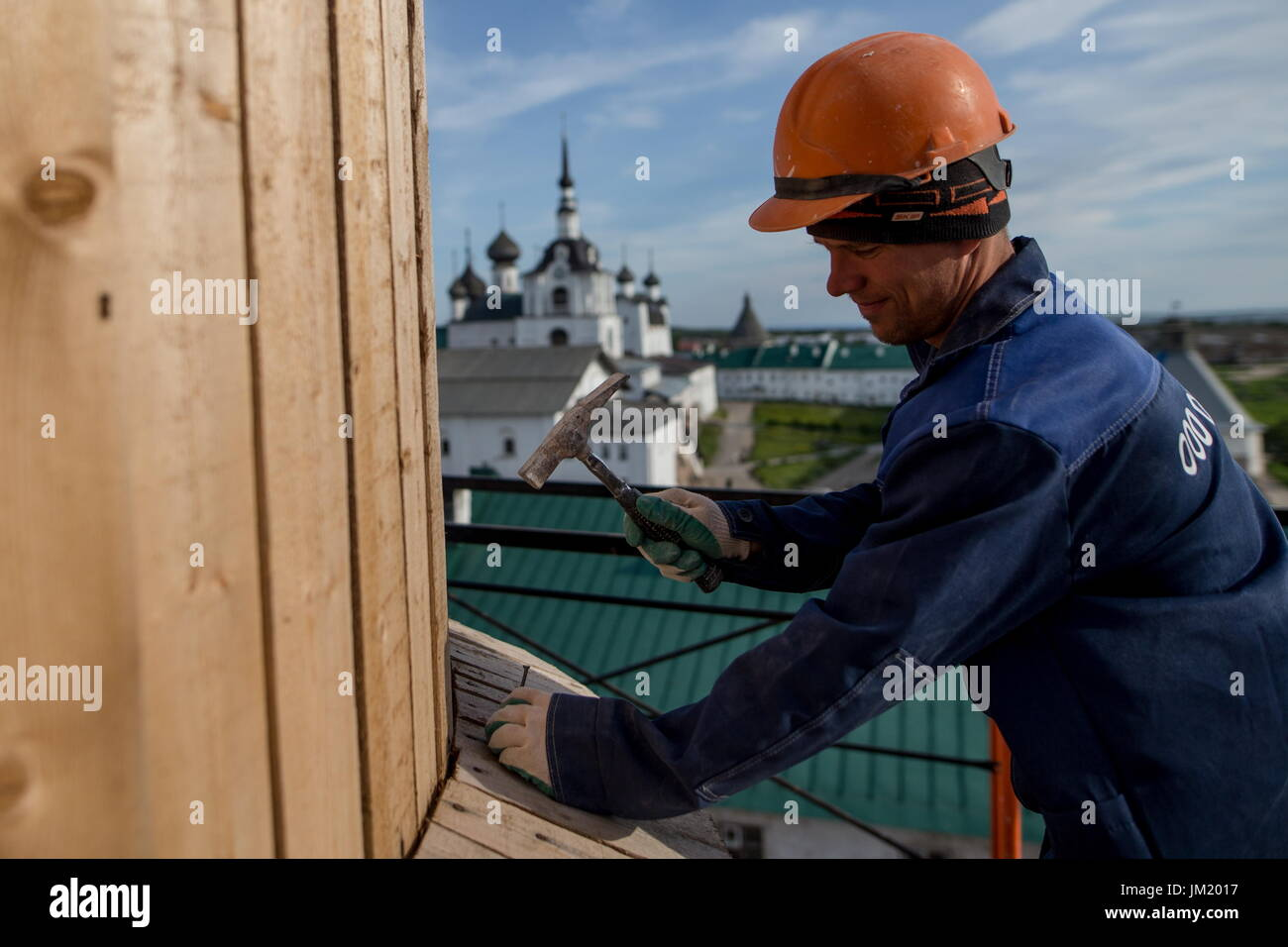 Arkhangelsk Region, Russia. 14th July, 2017. Restoration works at the Solovetsky Monastery situated on the Solovetsky Stock Photo