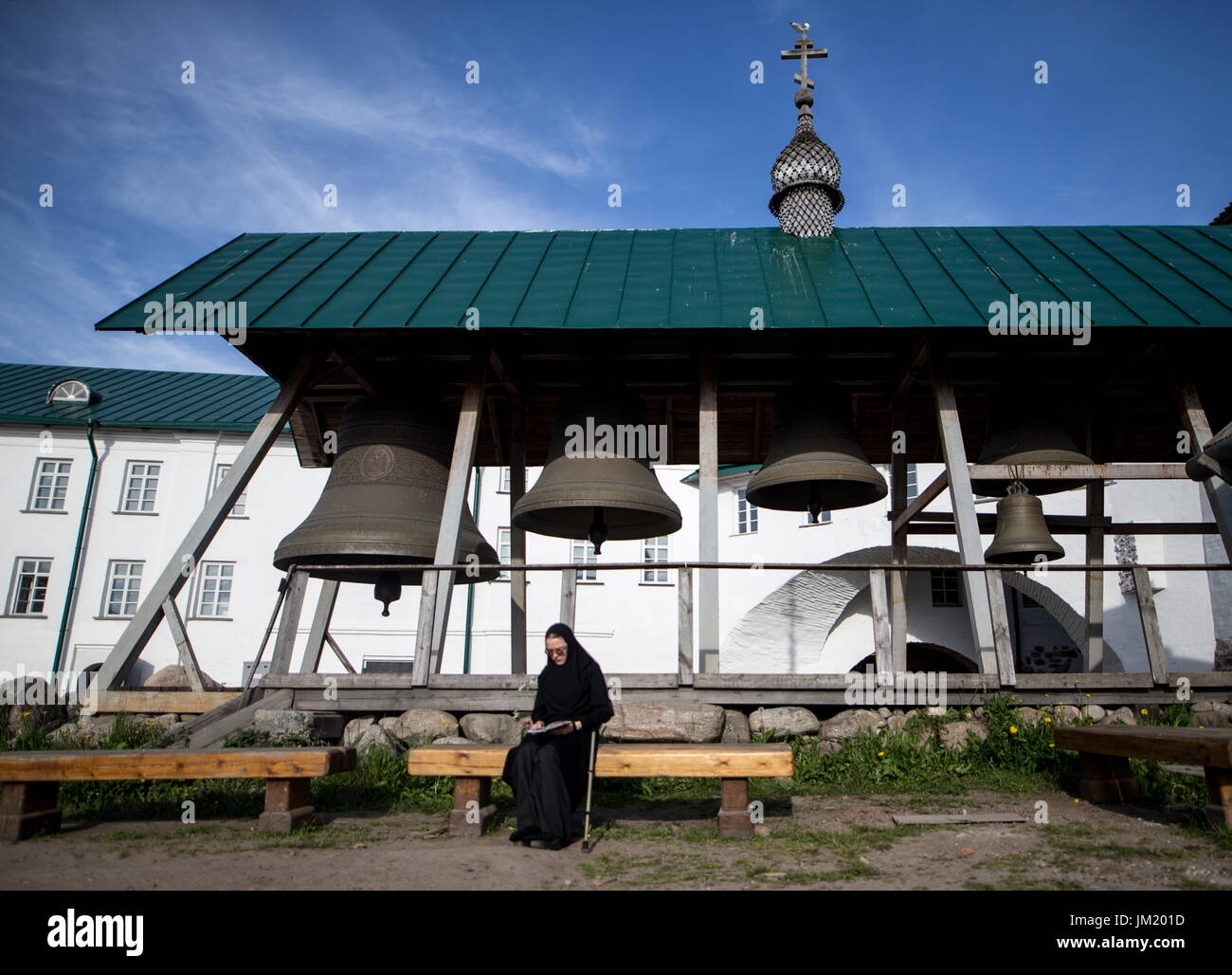Arkhangelsk Region, Russia. 14th July, 2017. Bells of the Solovetsky Monastery situated on the Solovetsky Islands Stock Photo