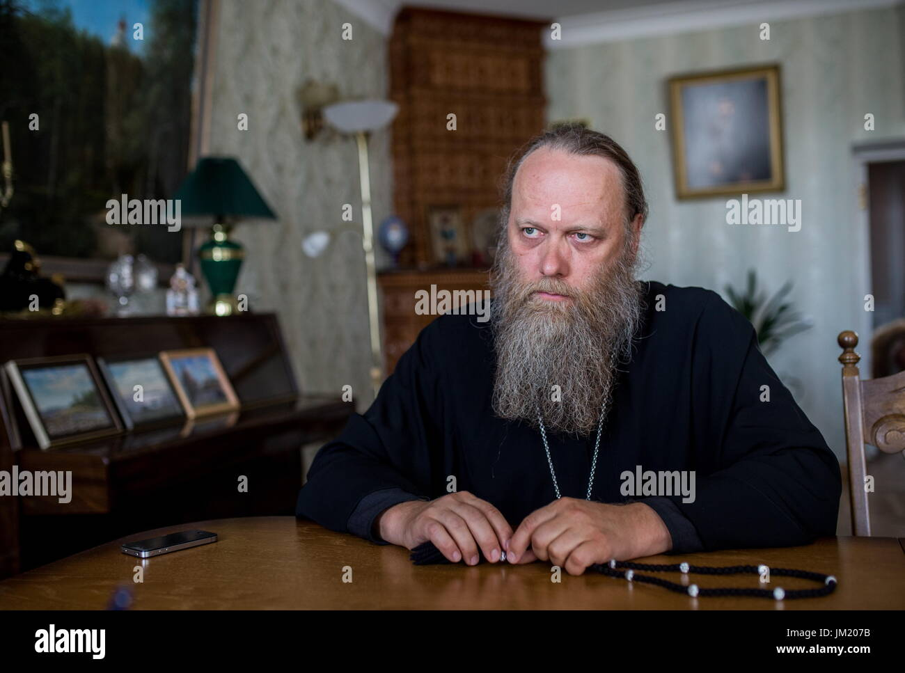 Arkhangelsk Region, Russia. 14th July, 2017. Archimandrite Porfiry (Shutov), the Father-Superior of the Solovetsky Stock Photo