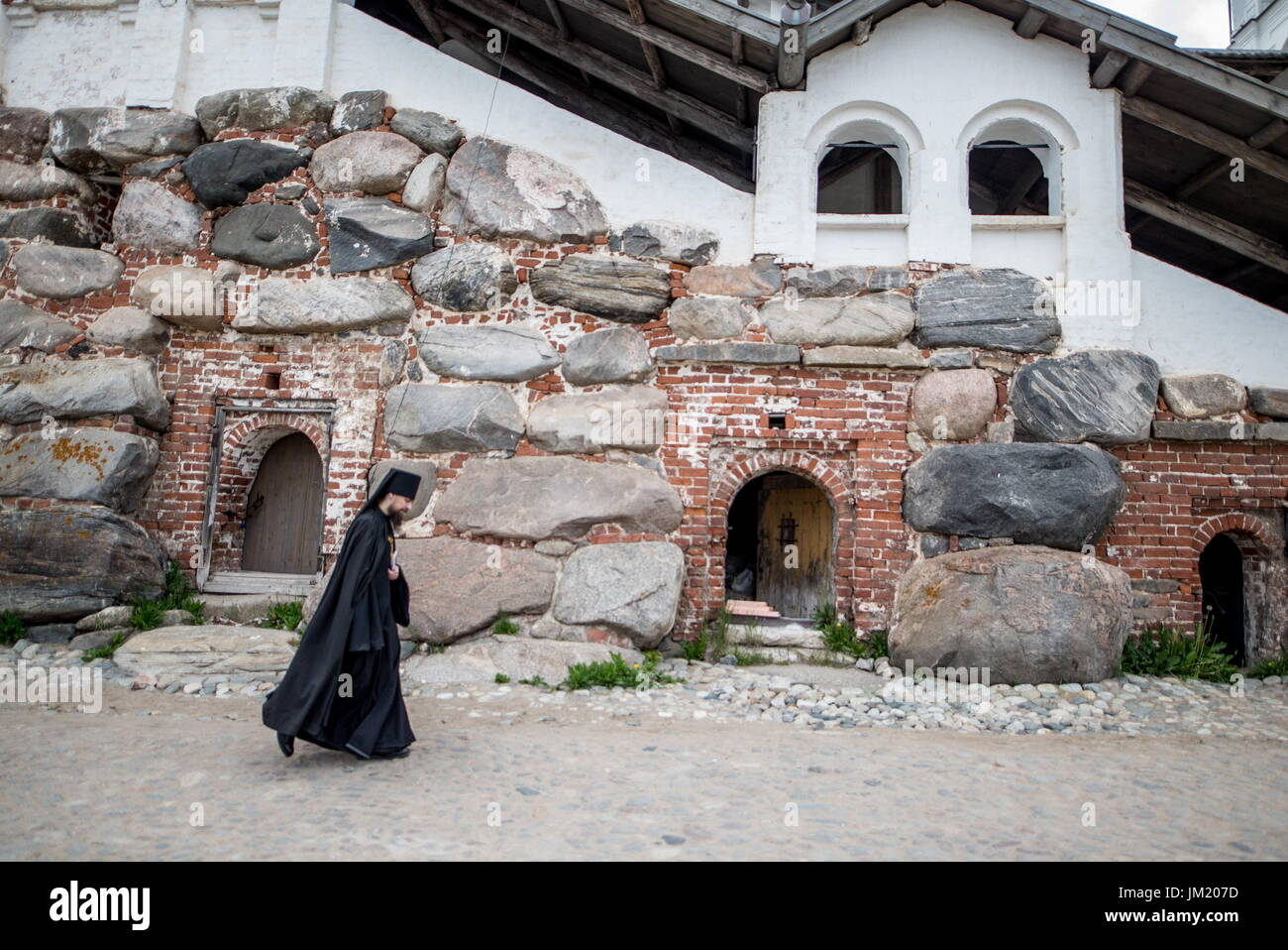 Arkhangelsk Region, Russia. 14th July, 2017. A monk seen at the Solovetsky Monastery situated on the Solovetsky Stock Photo