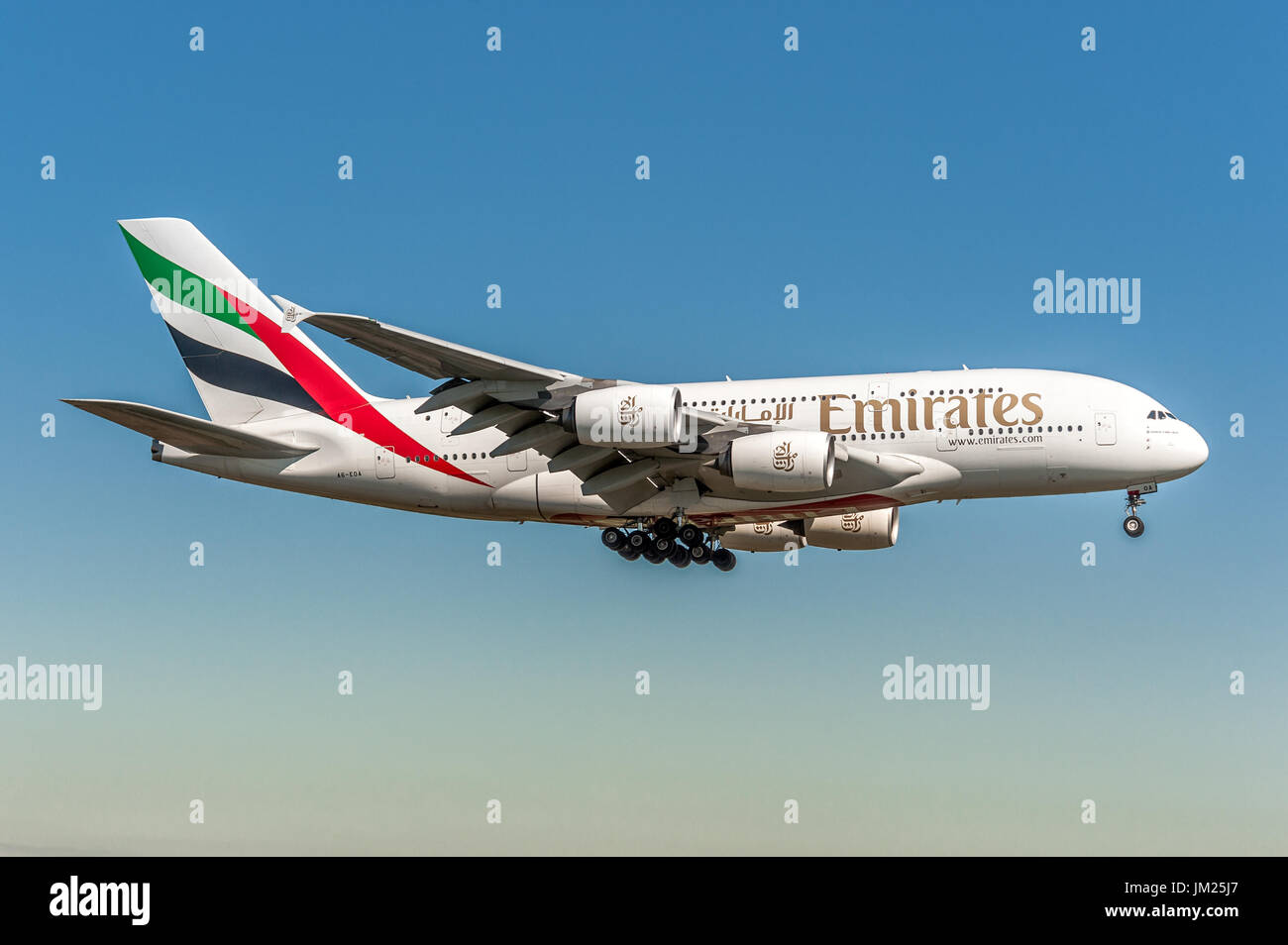 Emirates Airline Airbus A380 Landing at Kloten Zurich Airport, Switzerland. Biggest liner airplane of world. 4 jet engine and 2 layers for passenger. - Stock Image