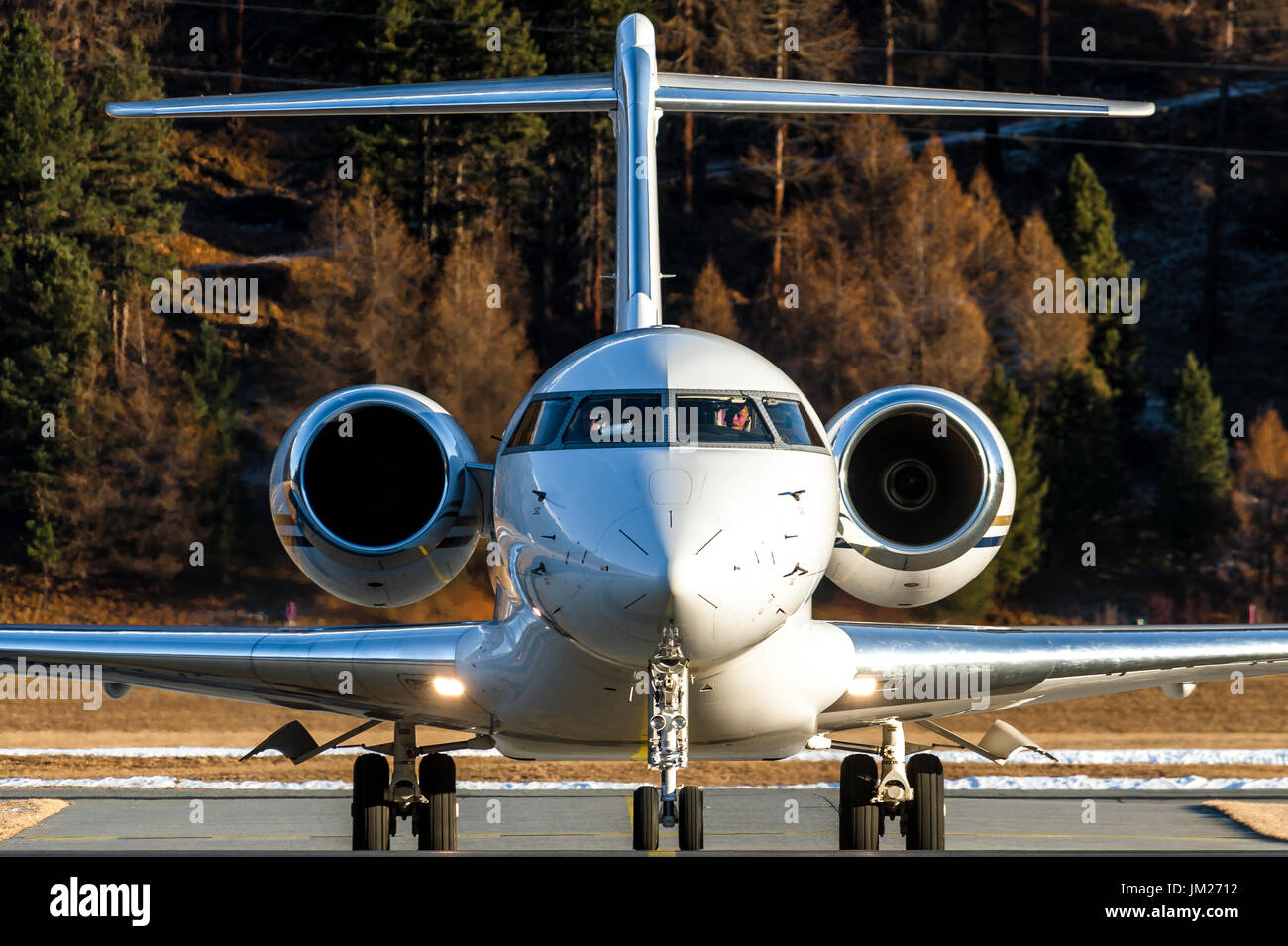 Bombardier Global 6000 GLEX just landed at Samedan Engadin Airport, Switzerland, near St.Moritz. Private aircraft called Bizjet used by vip for travel - Stock Image