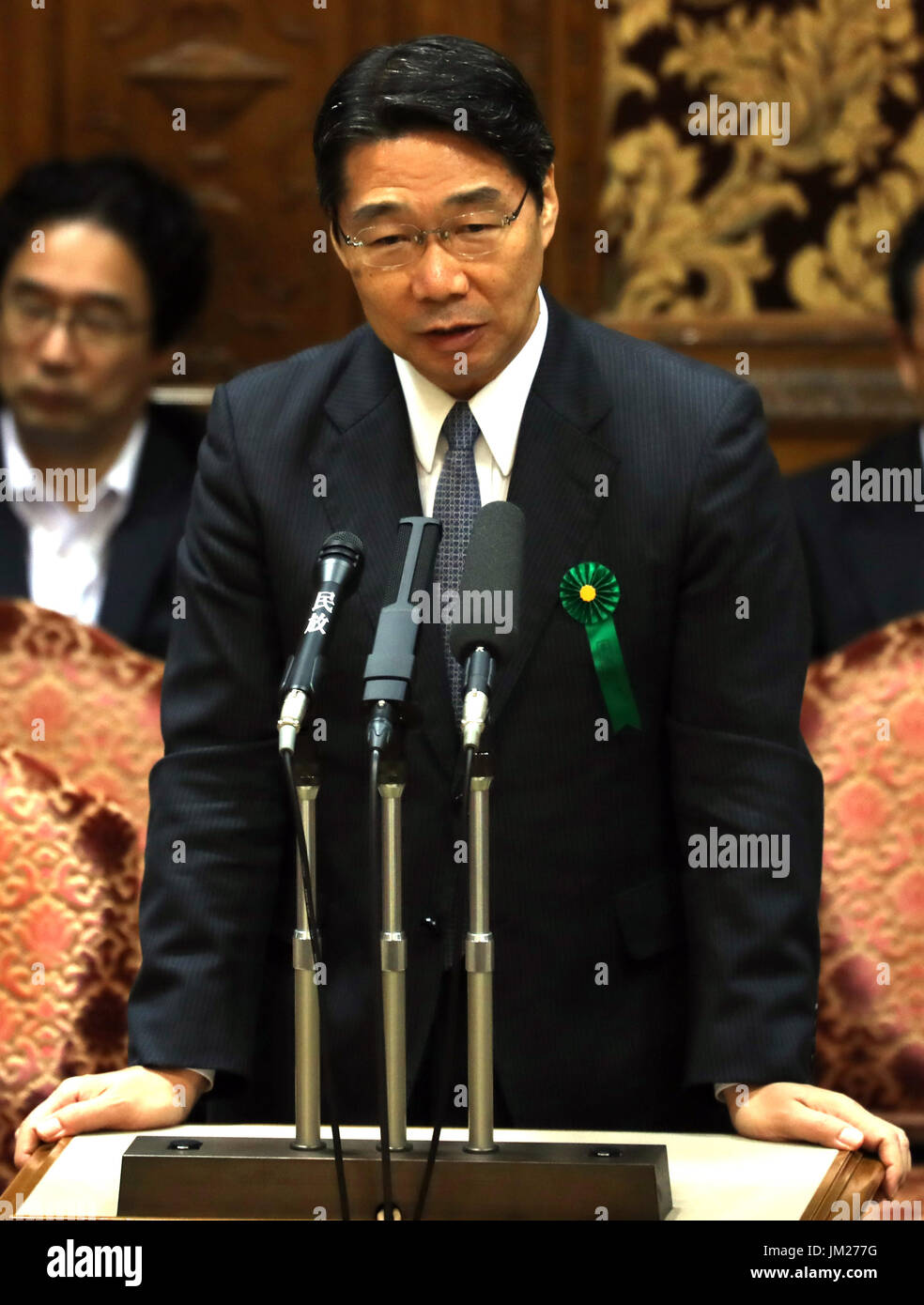 Tokyo, Japan. 25th July, 2017. Former vice Education Minister Kihei Maekawa answers a question by an opposition lawmaker at Upper House's budget committee session at the National Diet in Tokyo on Tuesday, July 25, 2017. Abe said he was not asked by his friend Kotaro Kake for help in opening a new university department in Imabari. Credit: Yoshio Tsunoda/AFLO/Alamy Live News - Stock Image