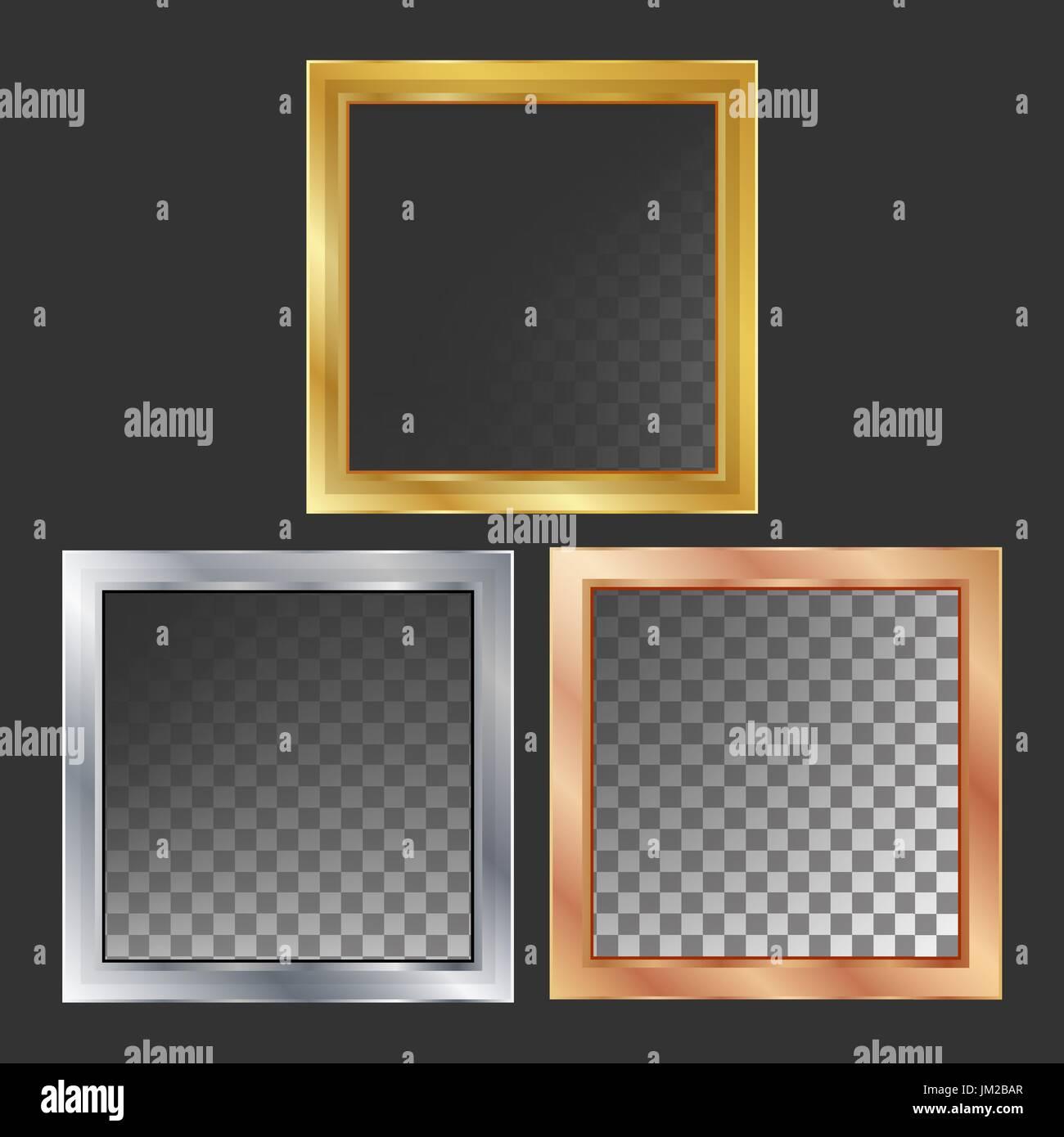 Gold, Silver, Bronze, Copper Metal Frames Vector. Square. Realistic ...