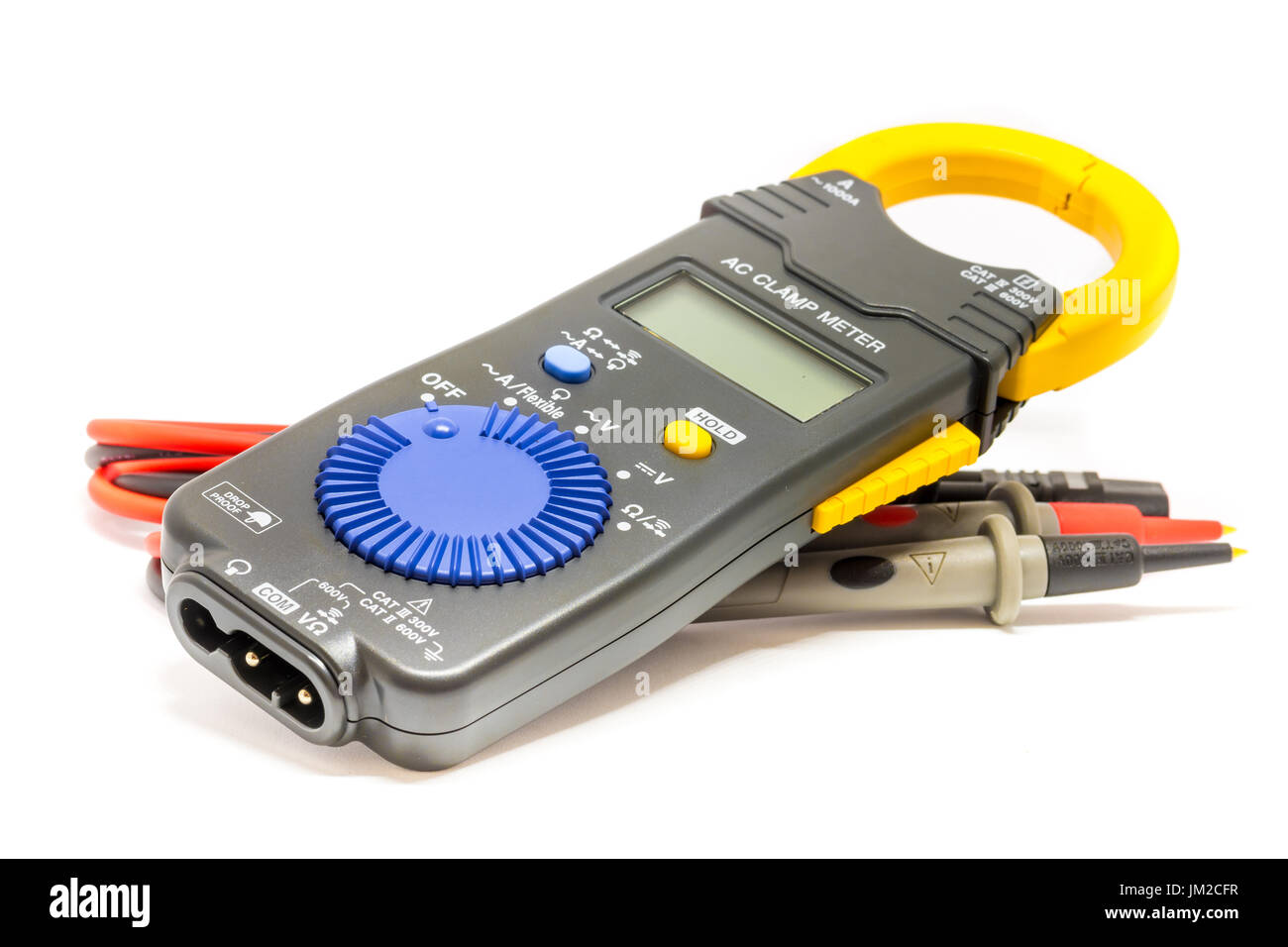Electric  digital multimeter. Clamp digital meter on the white background - Stock Image