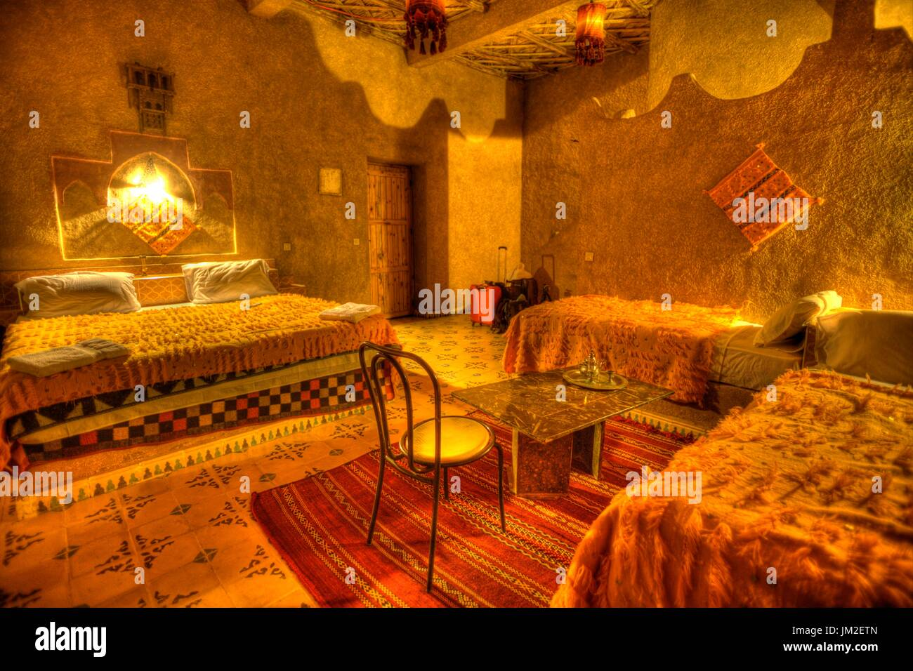 Hotel at the Sahara desert, Morocco - Stock Image