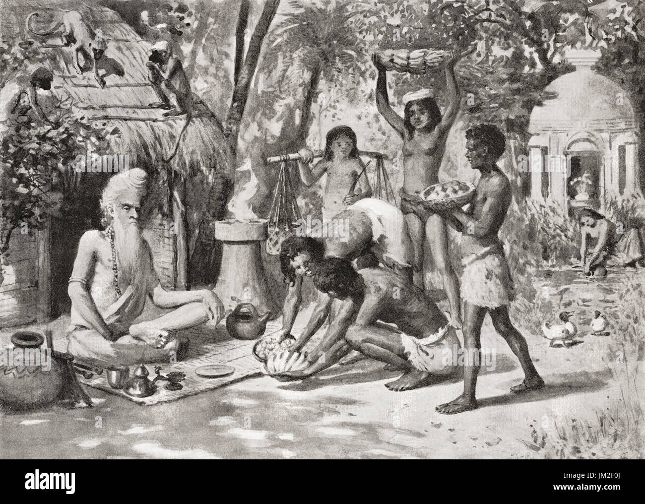 A hermit in ancient India seen here being brought food by the younger generation.  From Hutchinson's History of the Nations, published 1915. - Stock Image