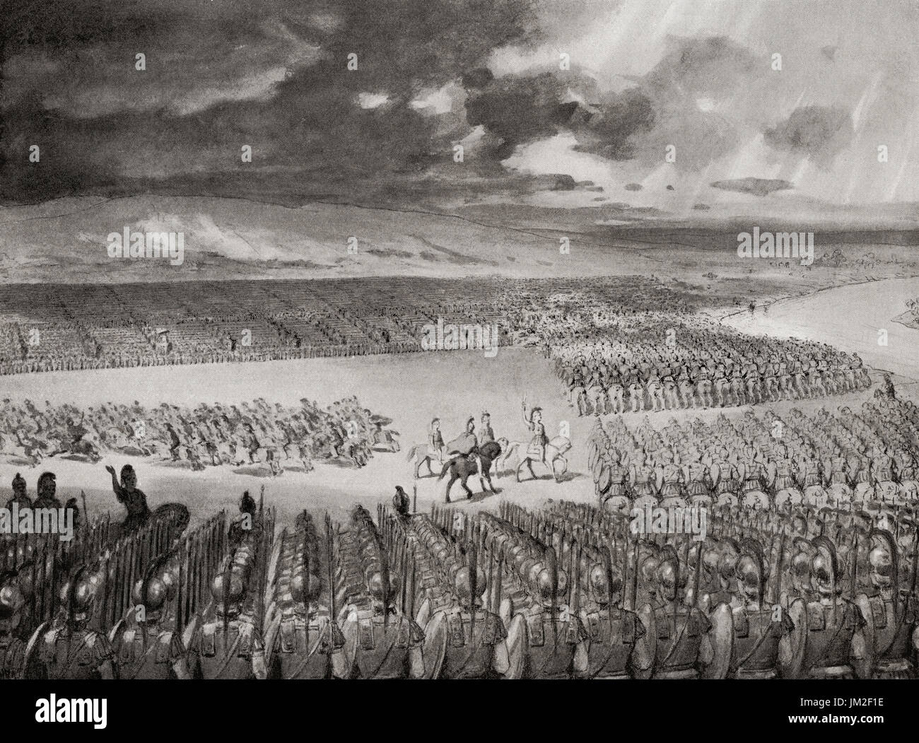 Porus or Poros, King of the Paurava awaits the attack of Alexander the Great prior to the Battle of the Hydaspes,  326 BC.   From Hutchinson's History of the Nations, published 1915. - Stock Image