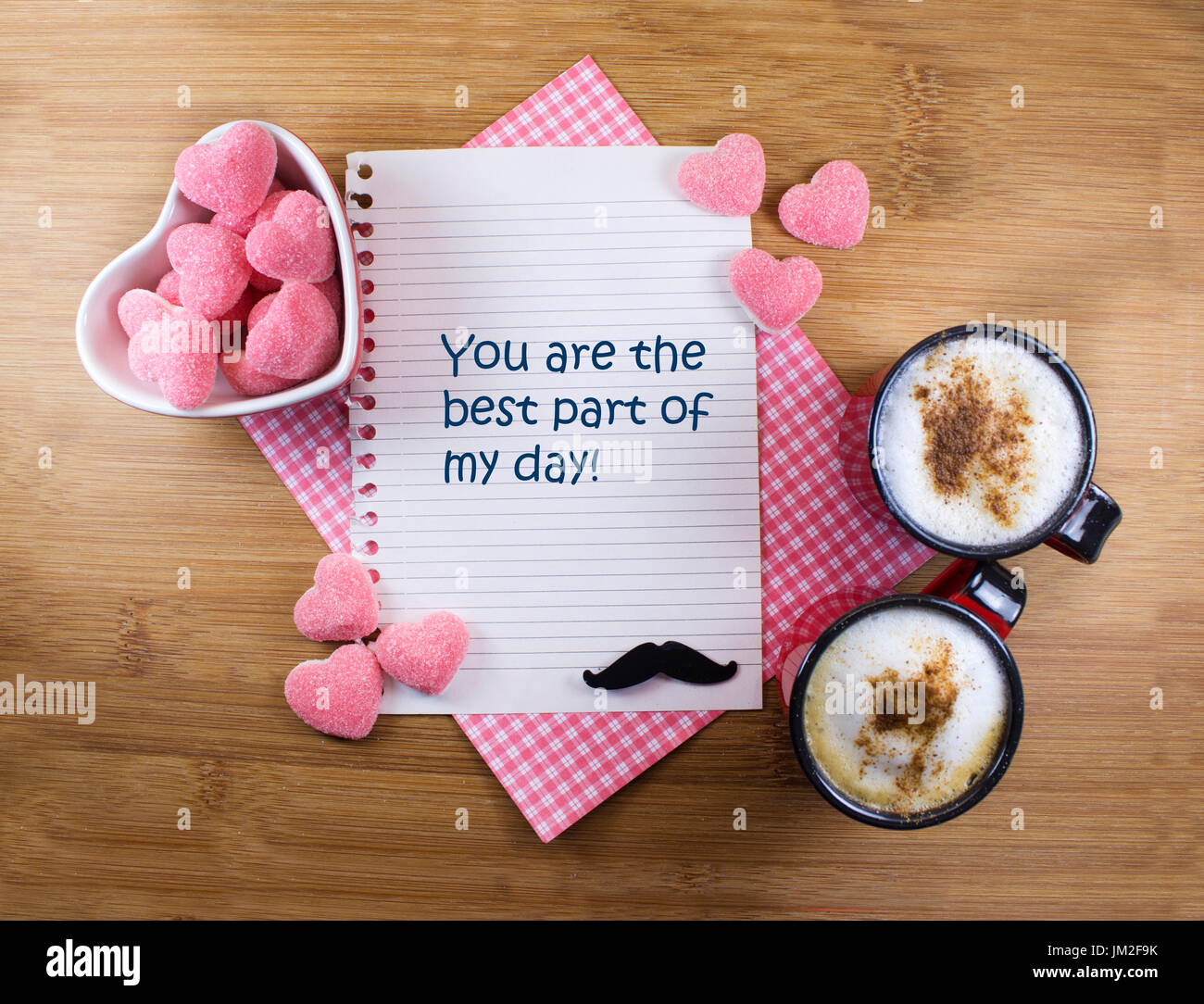 Cute Romantic Background With Good Morning Message Stock Photo