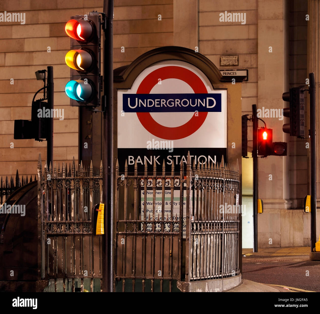 Night view of Bank junction, financial district, Bank Tube Station present. City of London. - Stock Image