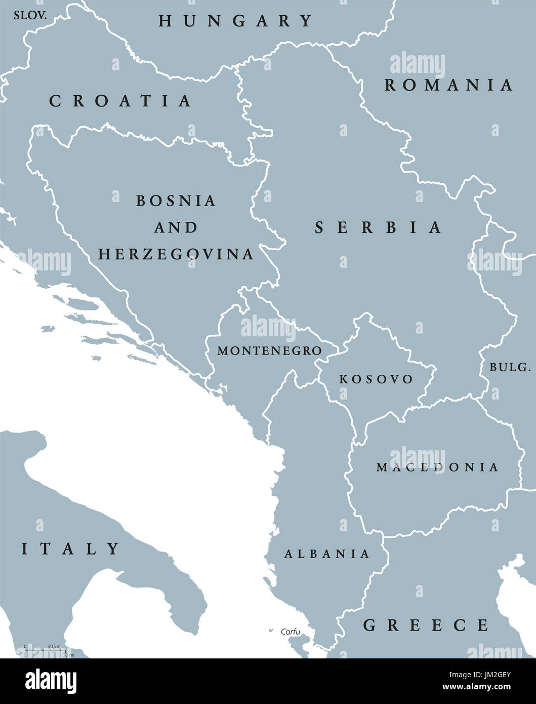 Central Balkan political map with borders. Southeastern countries on the Balkan Peninsula in Europe from Croatia to Greece. Gray illustration. - Stock Image