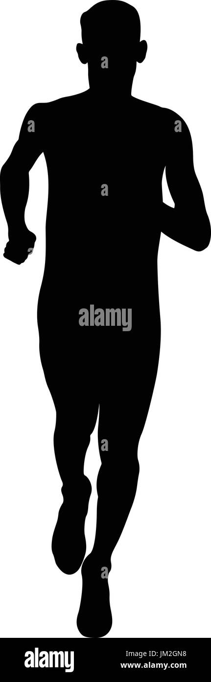 young athlete middle distance runner black silhouette - Stock Vector