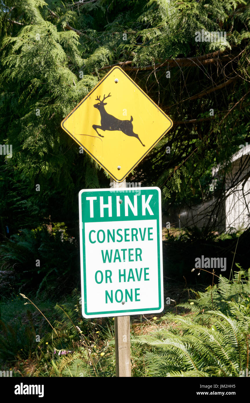 Deer crossing road sign and conserve water sign on Bowen Island near Vancouver, British Columbia, Canada - Stock Image