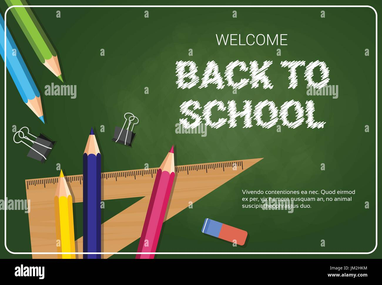 Welcome Back To School Poster Colorful Crayons Pencils And Rulers On Chalk Board Background - Stock Vector