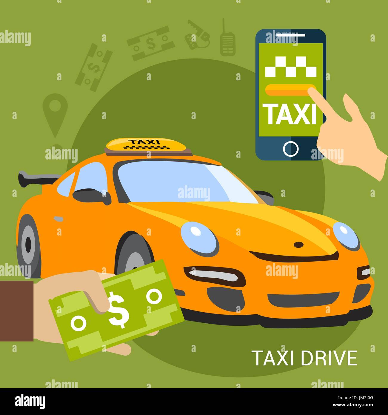 Vector illustration of taxi car on green background. - Stock Vector