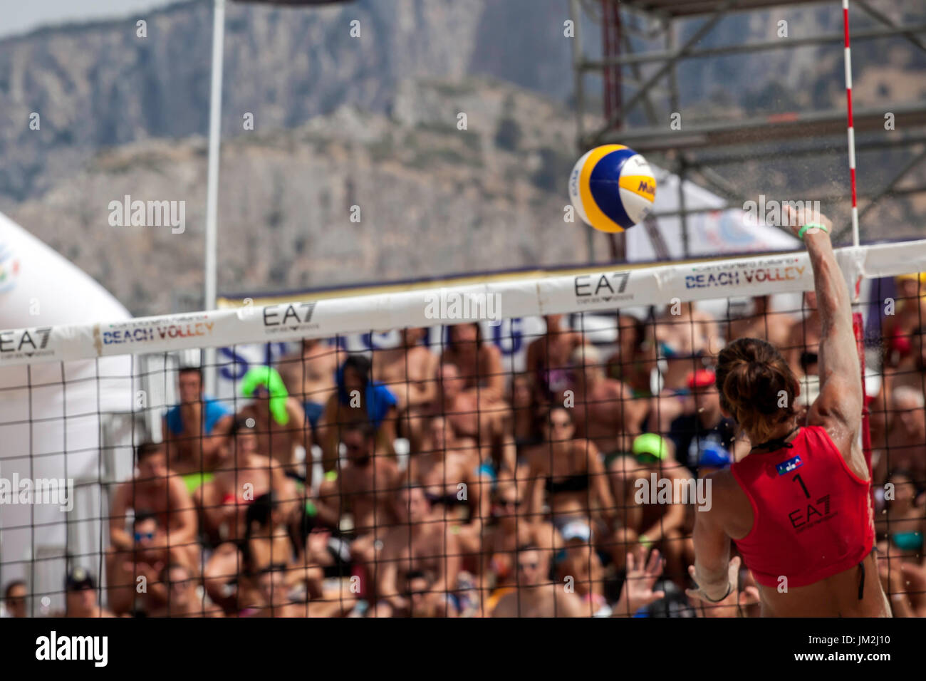 Athletes during the final of the Italian Championship Beach Volley on July 23, 2017 in Mondello Beach, Italy. Stock Photo
