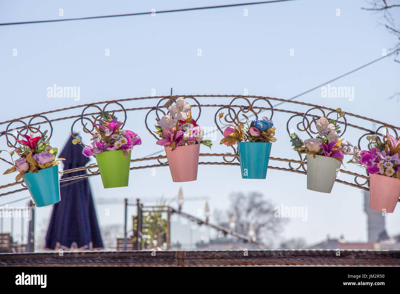 Alamy & Fake flowers in flower pots for decoration Stock Photo ...