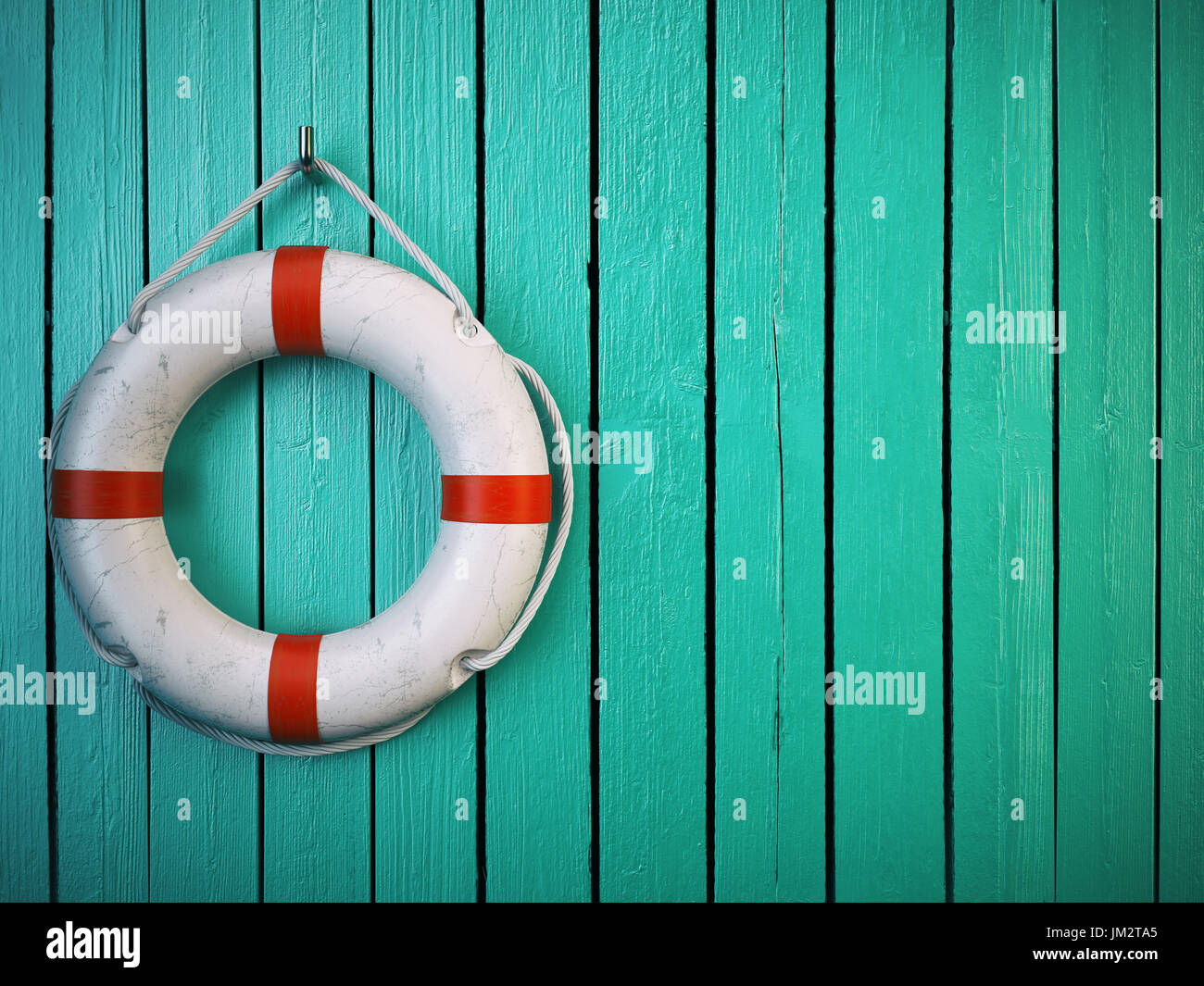 Life belt or rescue ring on wooden wall. Salvation, protection and security concept. 3d illustration - Stock Image