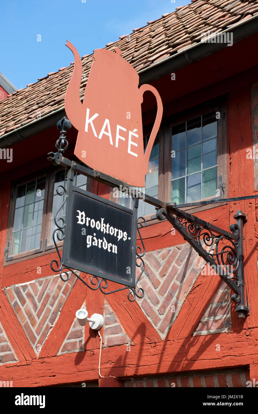 Exterior and sign of coffee house, Halmstad, Sweden - Stock Image